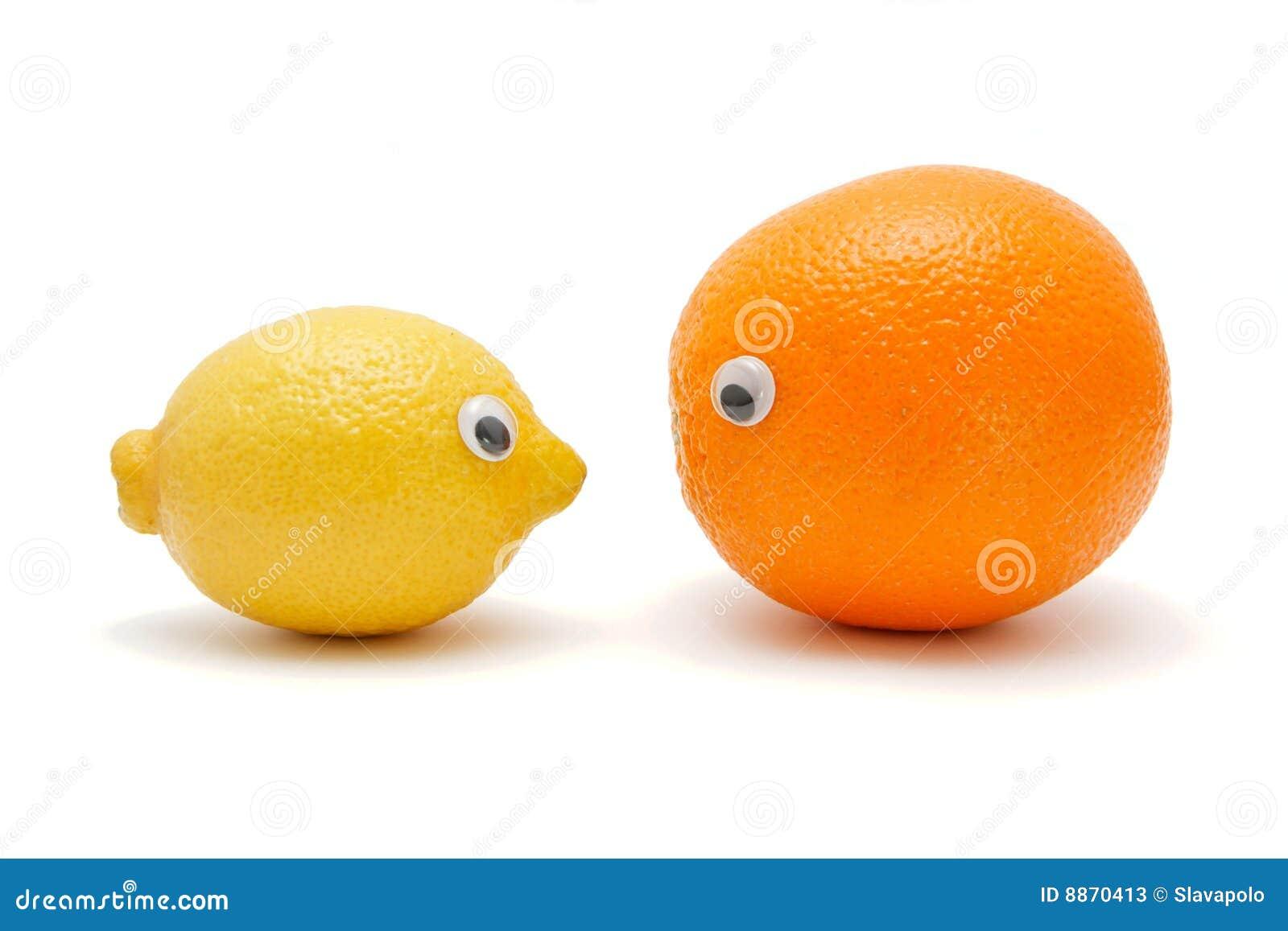 Citroen en sinaasappel met ogen stock foto 39 s afbeelding 8870413 - Ogen grappig ...