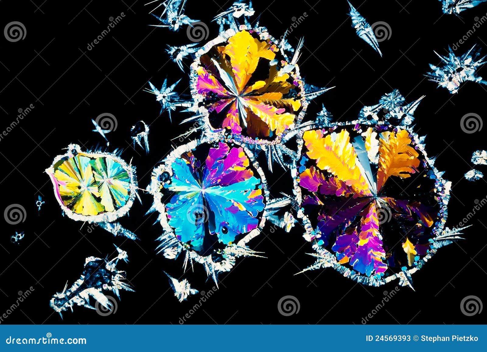 Citroenzuurkristallen in gepolariseerd licht