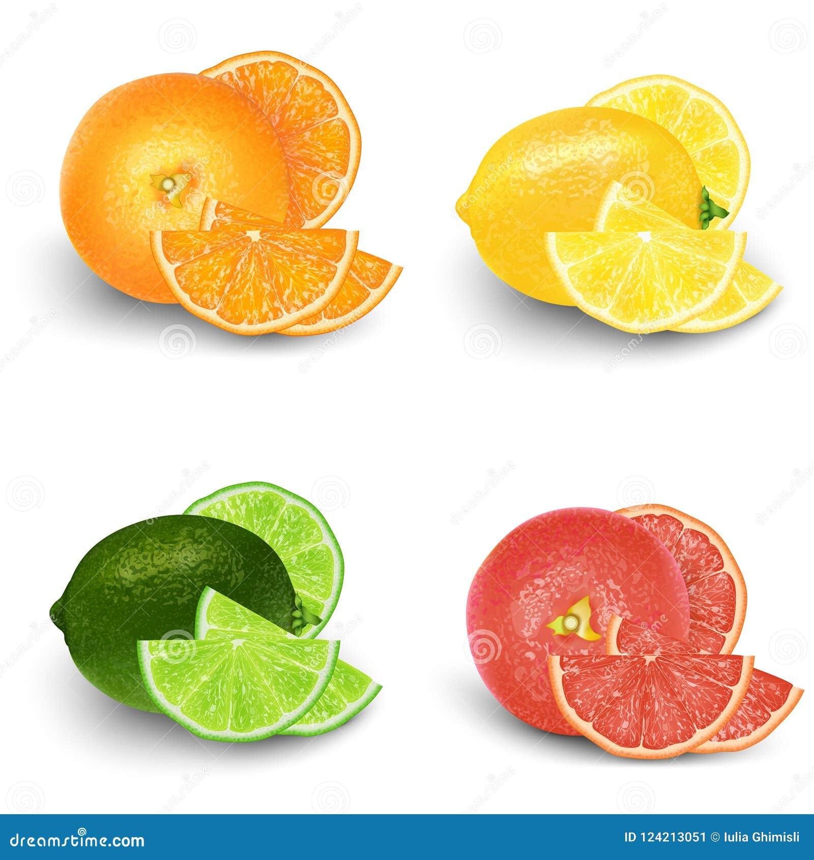 Citron, chaux, orange, ensemble de fruit frais de pamplemousse 3d réaliste VE