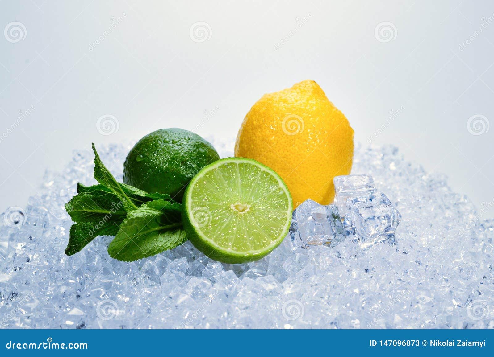 Citron, limefrukt och mintkaramell p? is