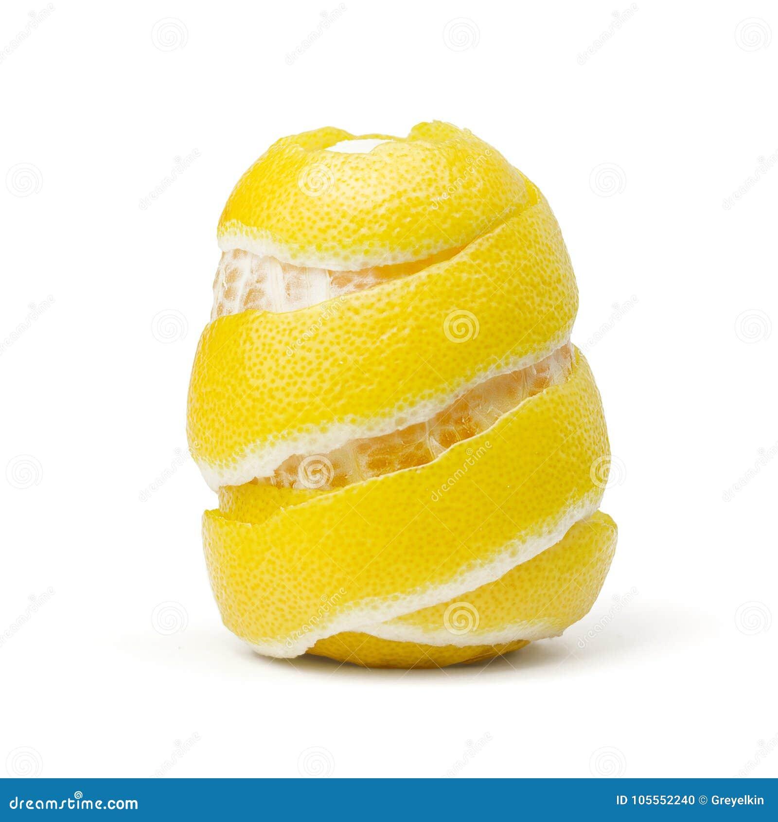Citron peel, piff på vit bakgrund