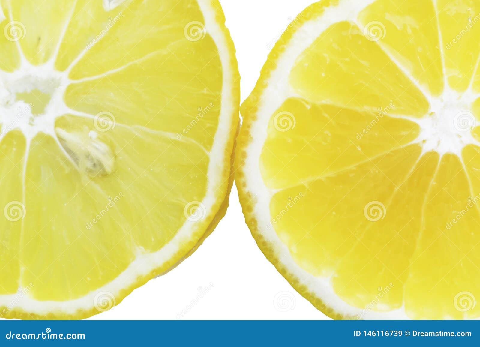Citronskivor i vattnet, n?rbild, b?sta sikt
