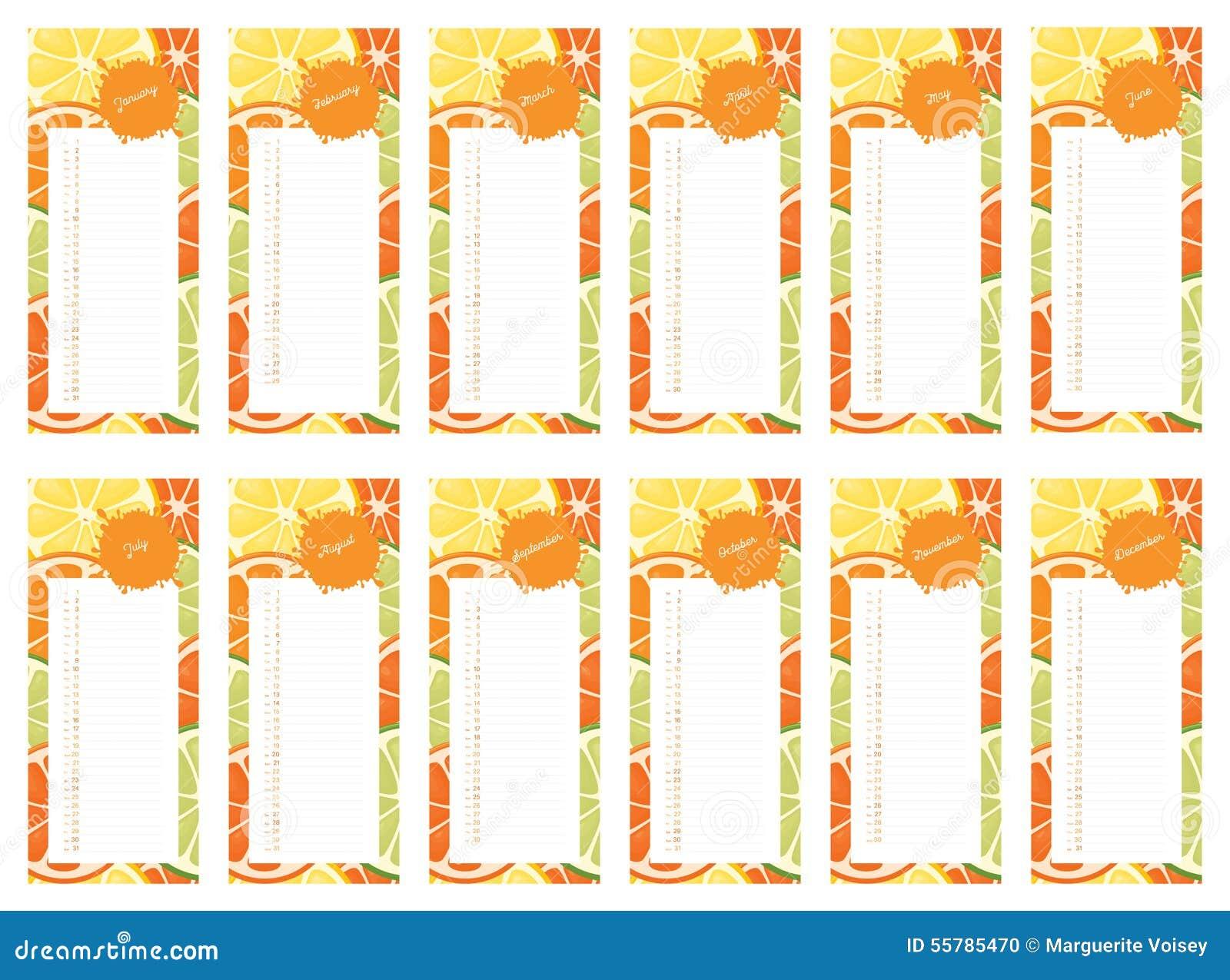 Calendar Design Book : Citrus calendar book stock illustration image