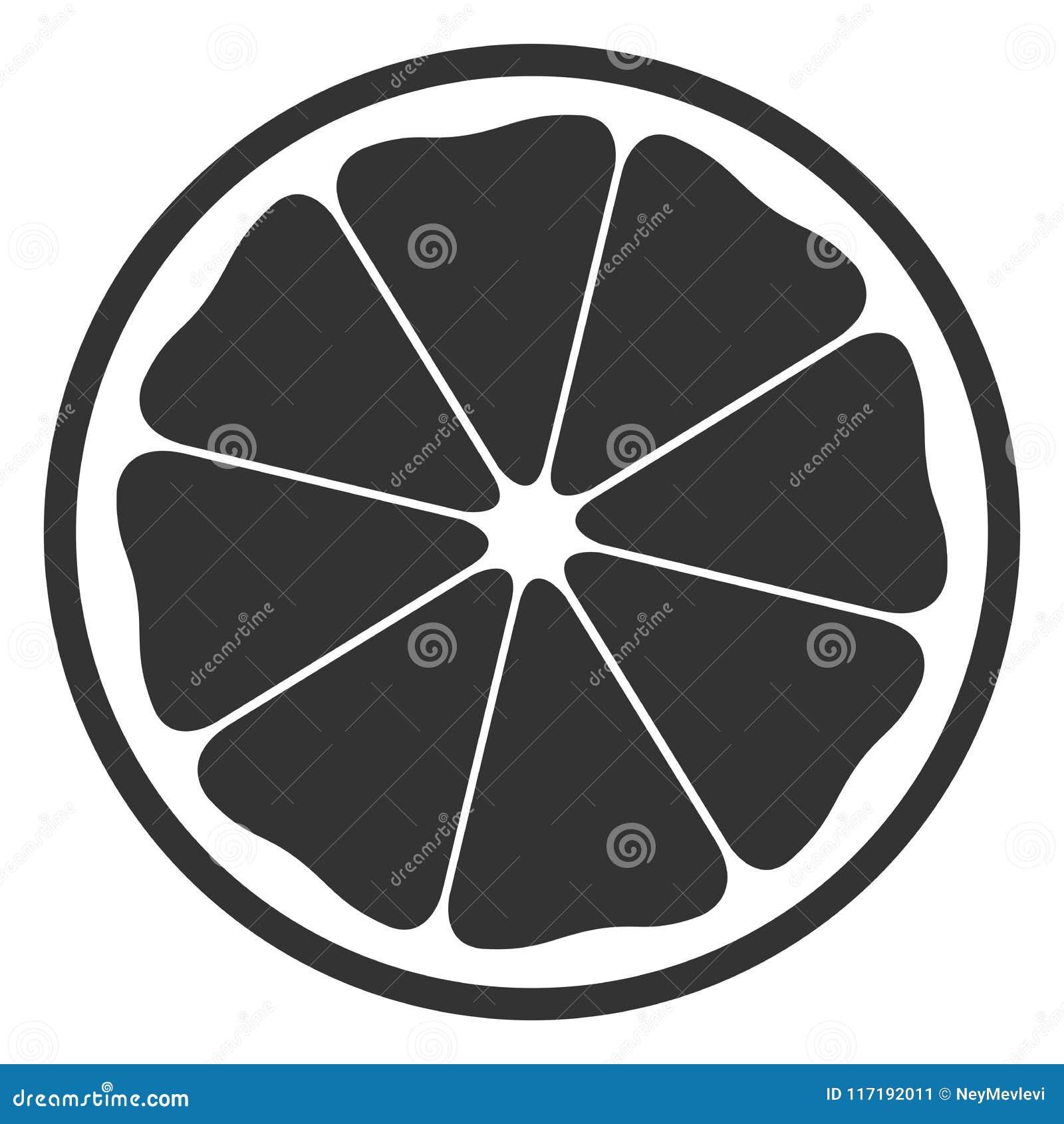 Black And White Half Orange Symbol Stock Vector Illustration Of