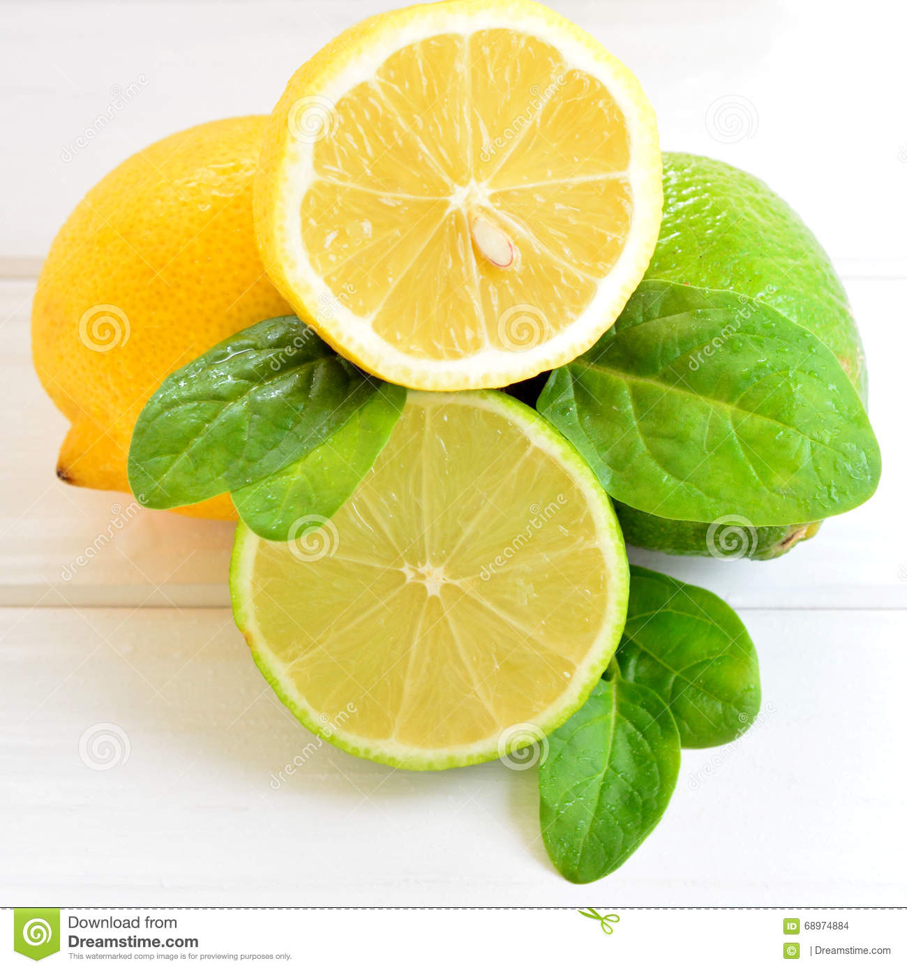 Citrus lime and lemon on a white table