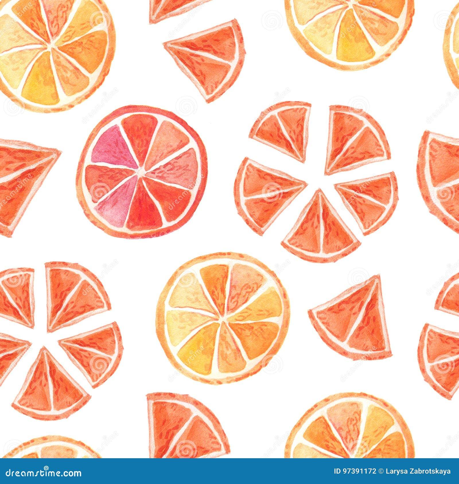 Citrus sömlös modell för vattenfärgsommar