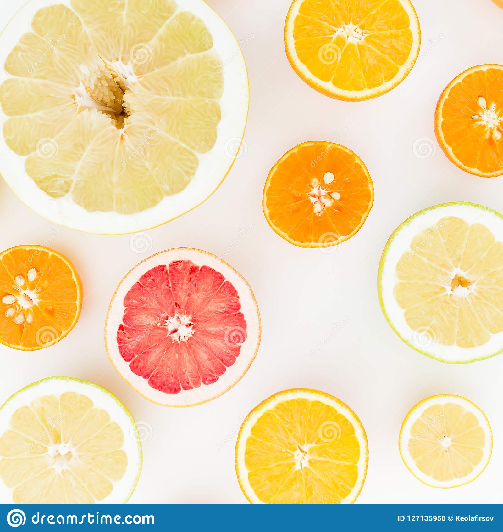 Citrusfruktmodell av citronen, apelsinen, grapefrukten, raringen och pomeloen på vit bakgrund Lekmanna- lägenhet, bästa sikt
