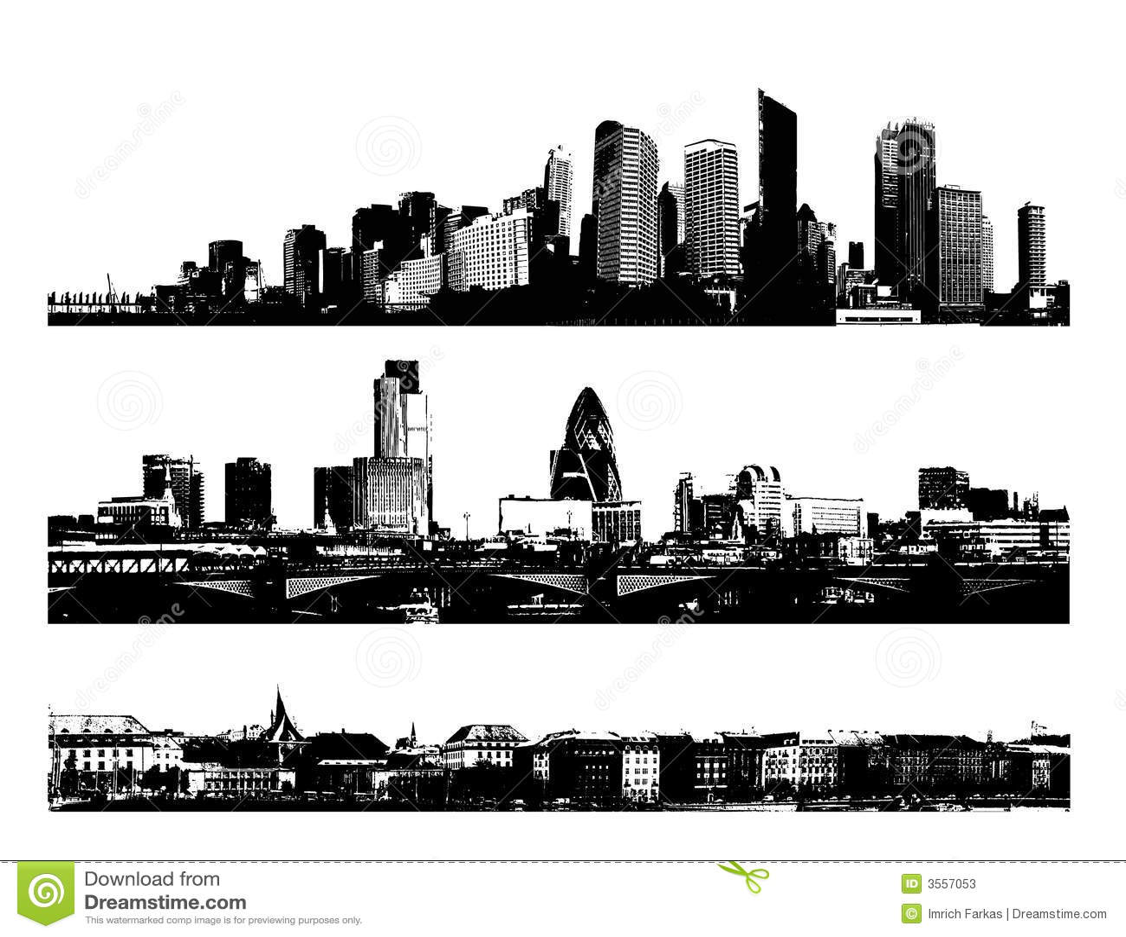 Città in bianco e nero di panorama