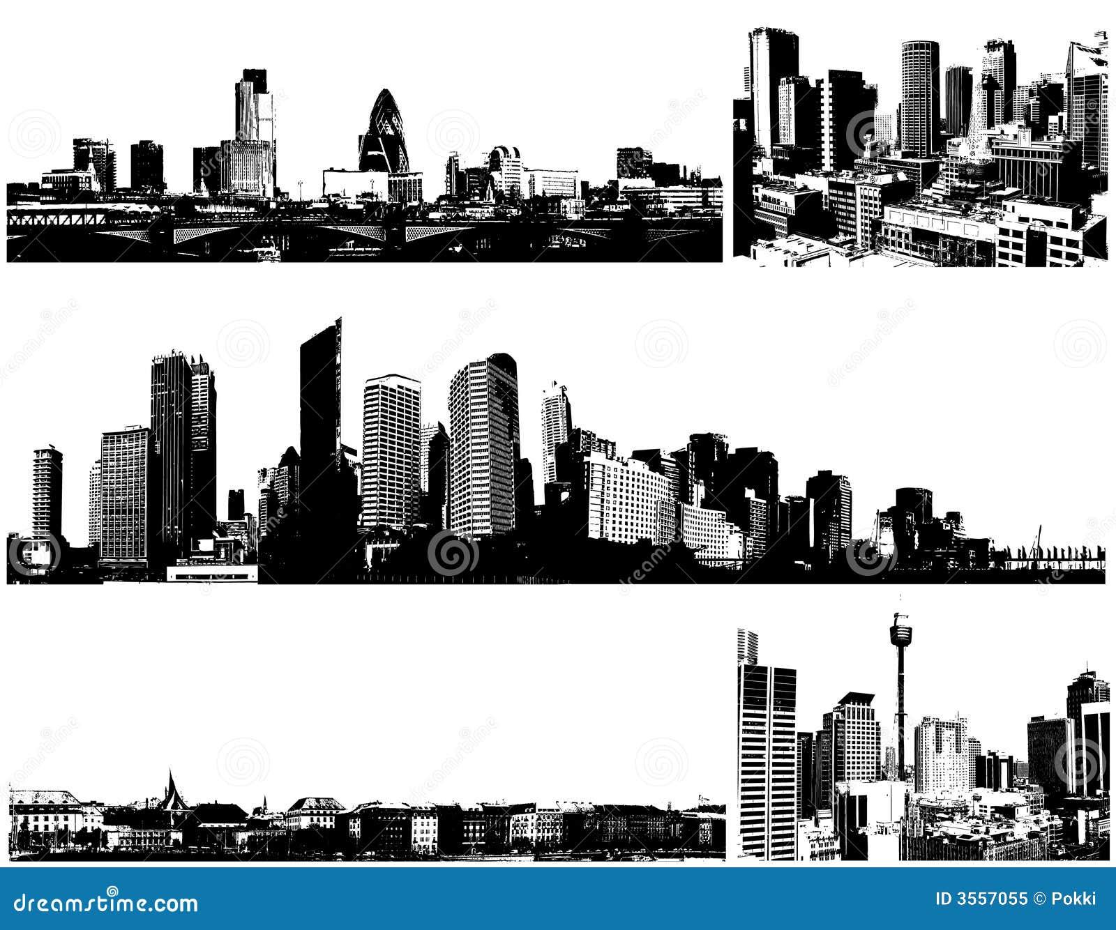 Città in bianco e nero di panorama. Vettore