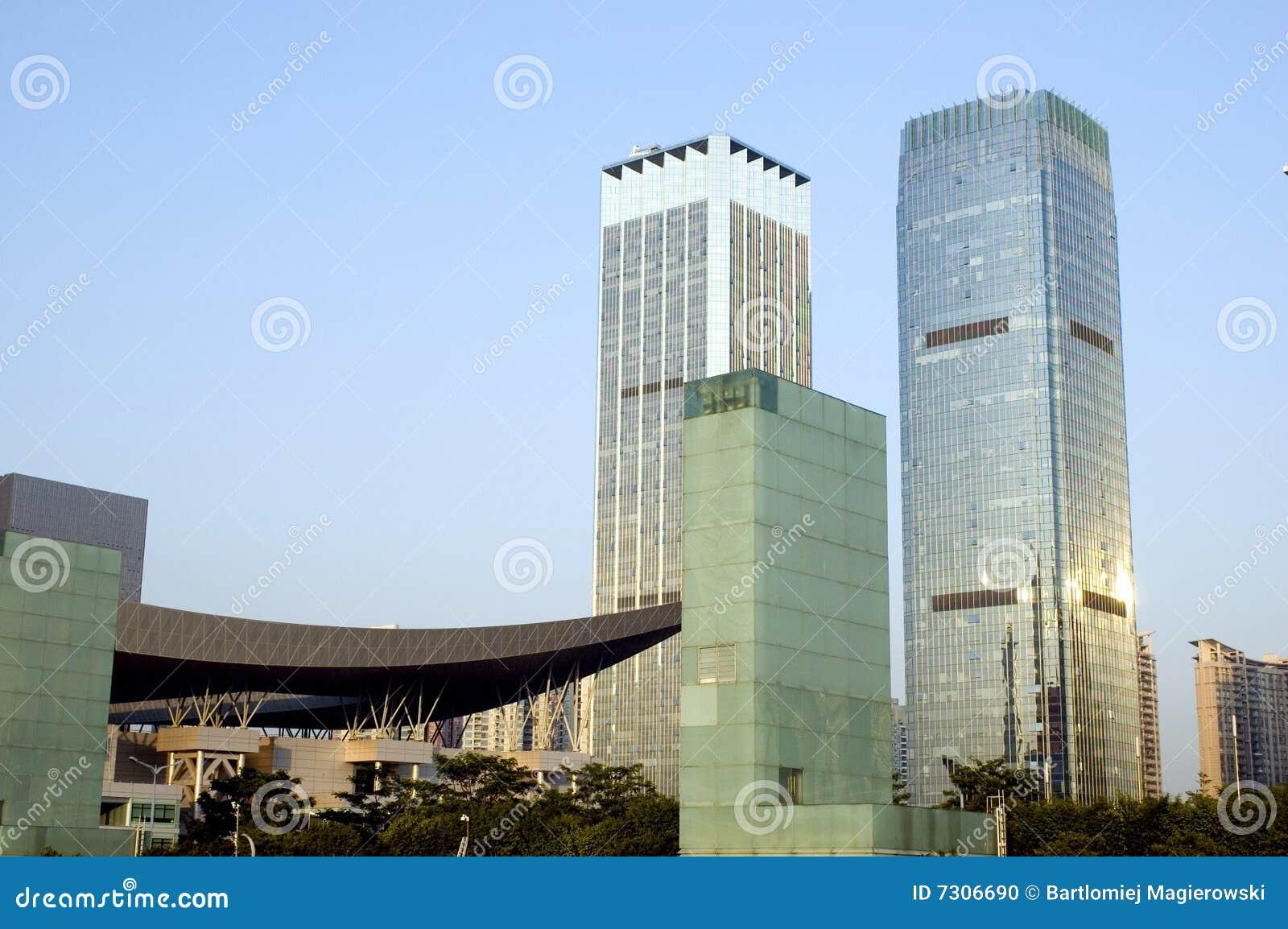 Città con i grattacieli moderni
