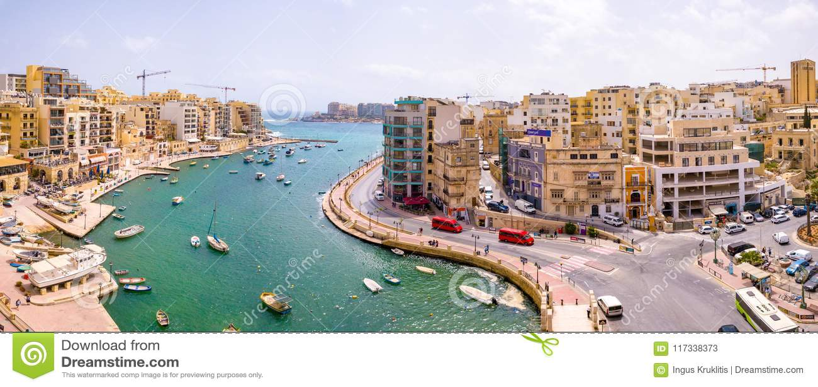 Città della baia, della st Julians e di Sliema di Spinola su Malta