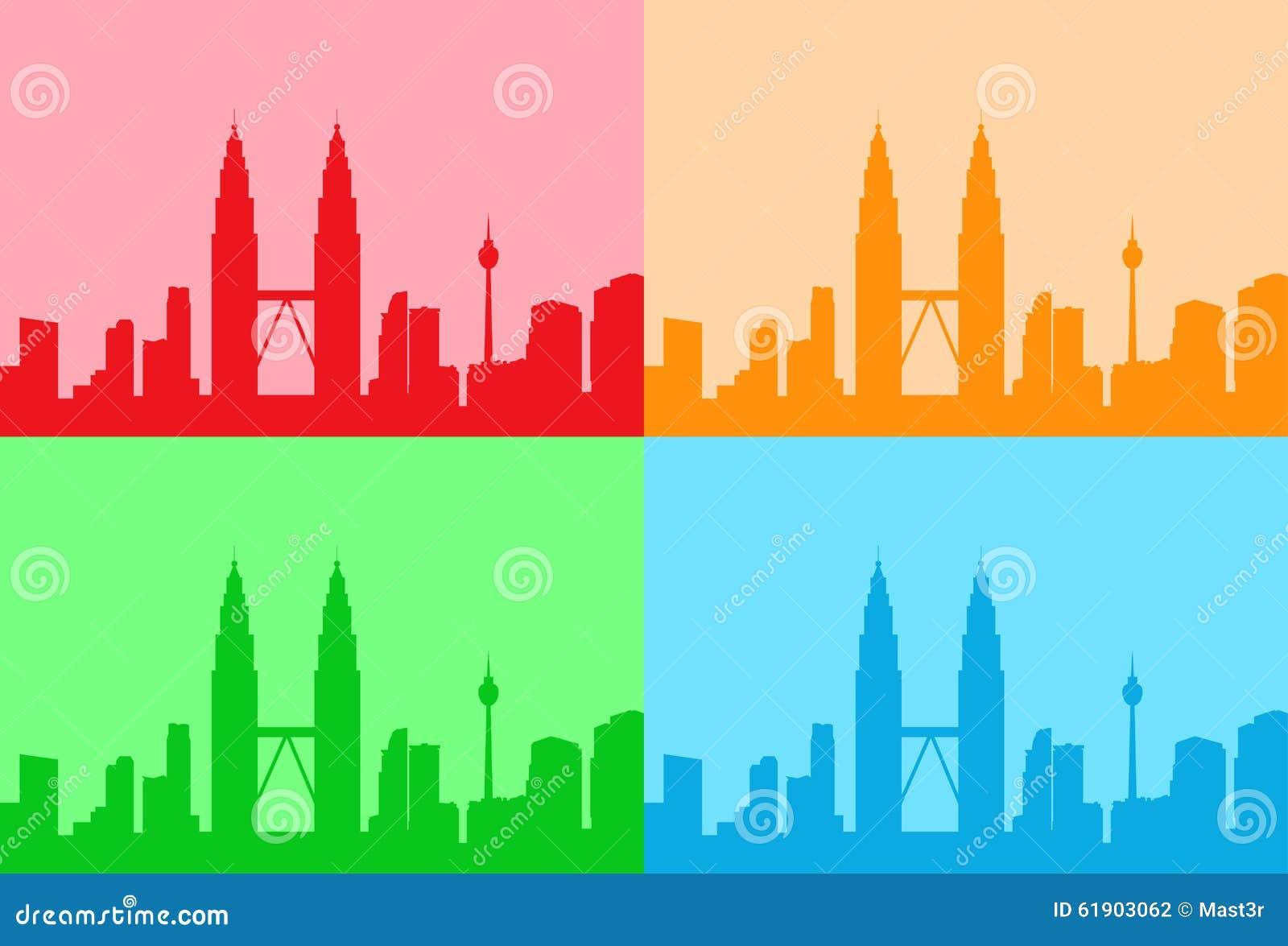 Città della Malesia Kuala Lumpur Colorful Set Skyline