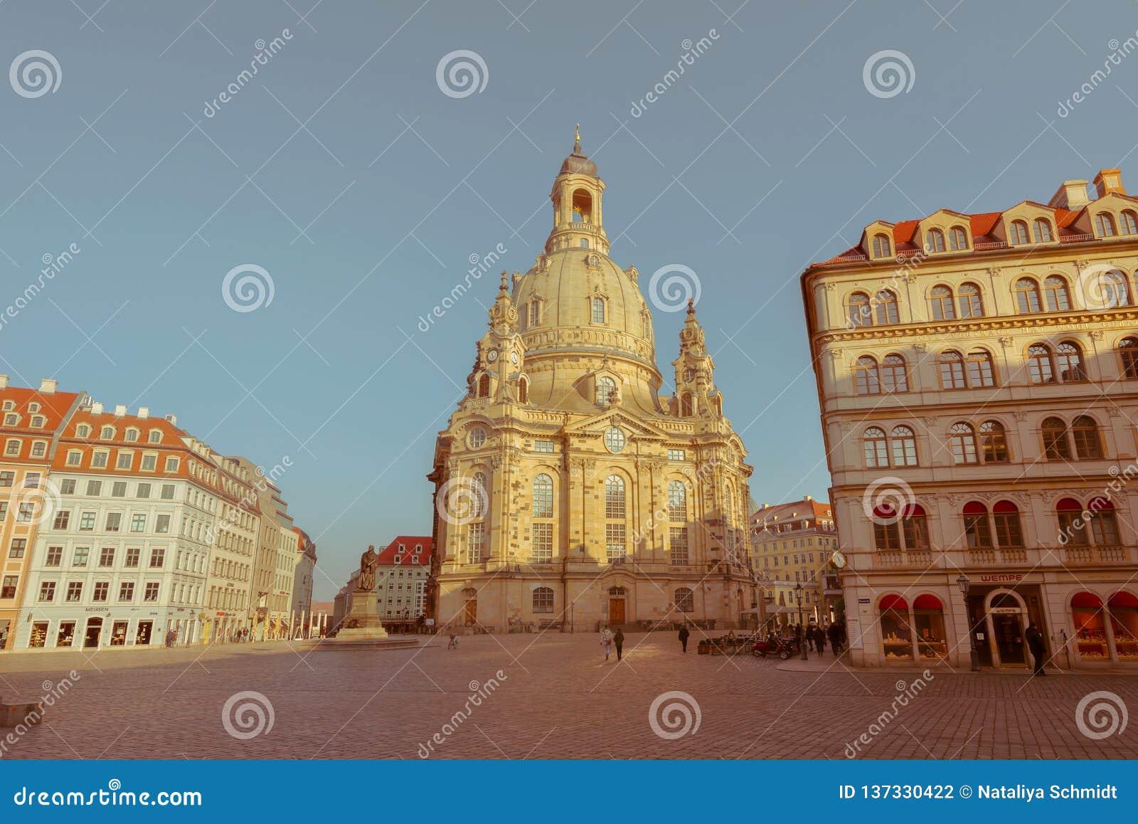 Città di Dresda Centro storico Sera di autunno a Dresda