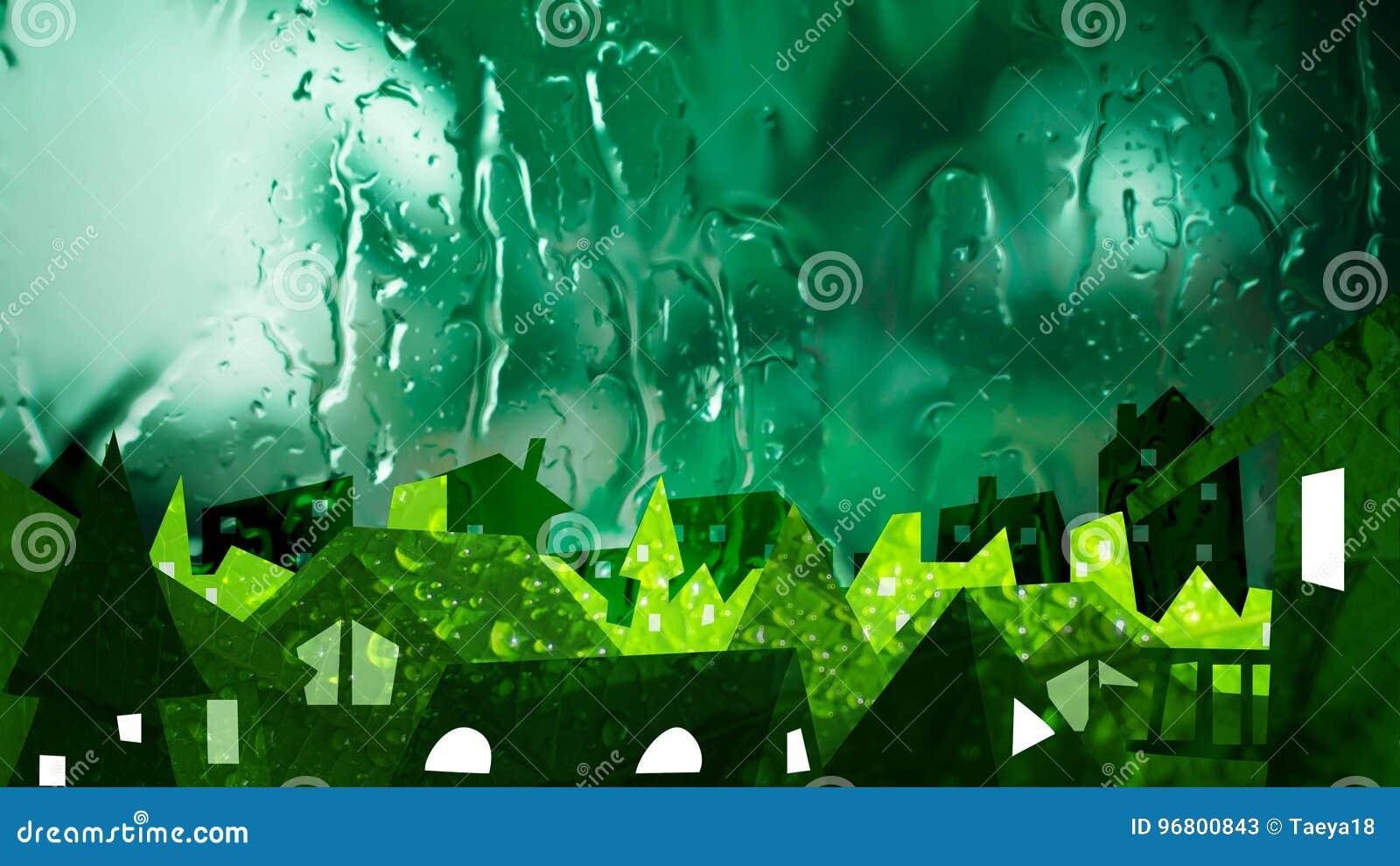 Città di ecologia nel fondo fresco della natura