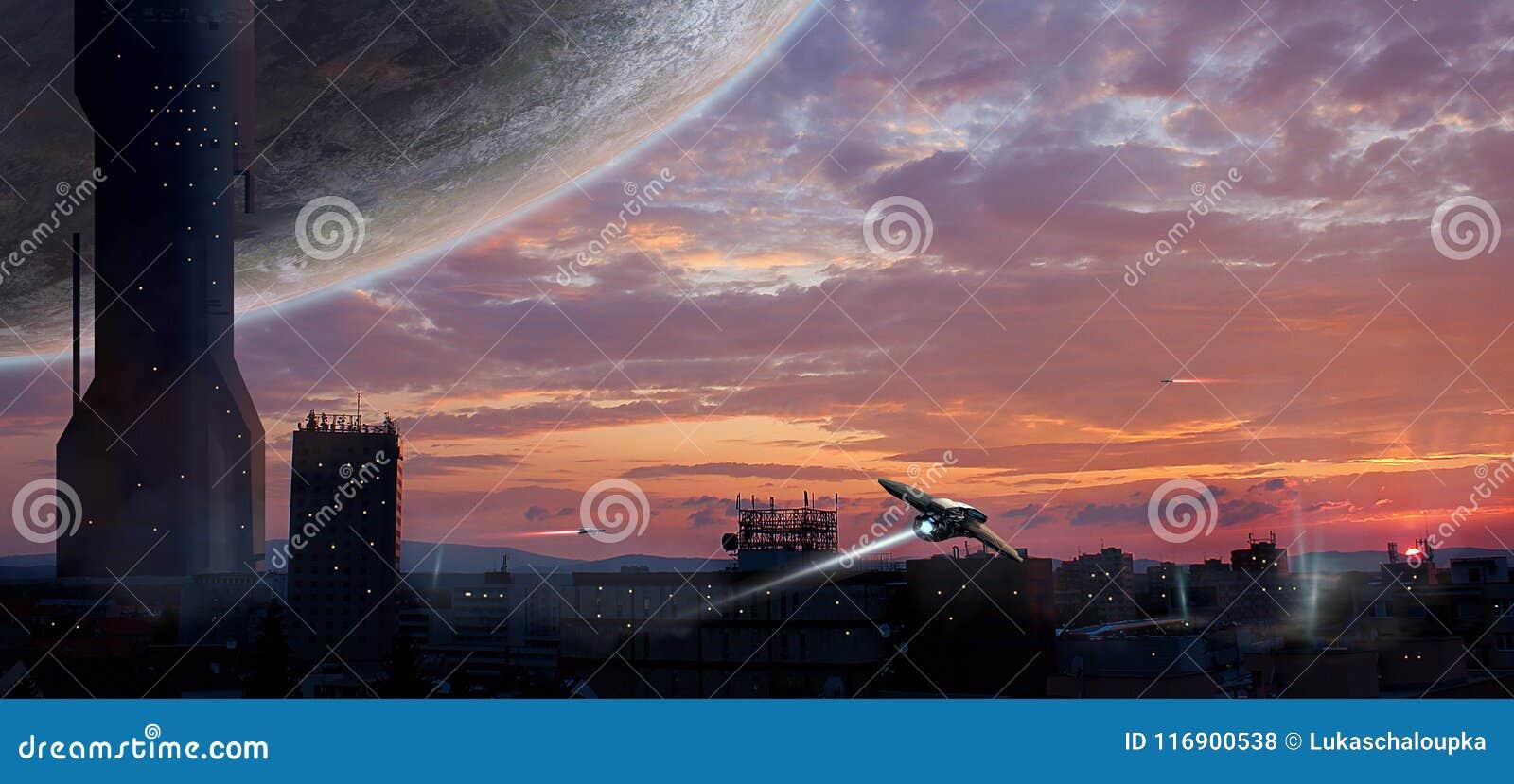 Città di fantascienza con il pianeta e le astronavi, manipolazione della foto, Elem