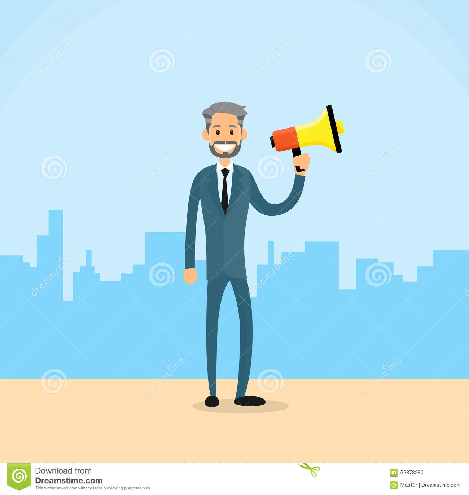 Città di Hold Megaphone Loudspeaker dell uomo d affari