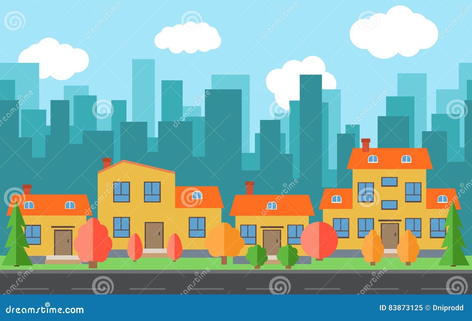 Citt di vettore con le case e le costruzioni del fumetto for Concetto aperto di piani coloniali