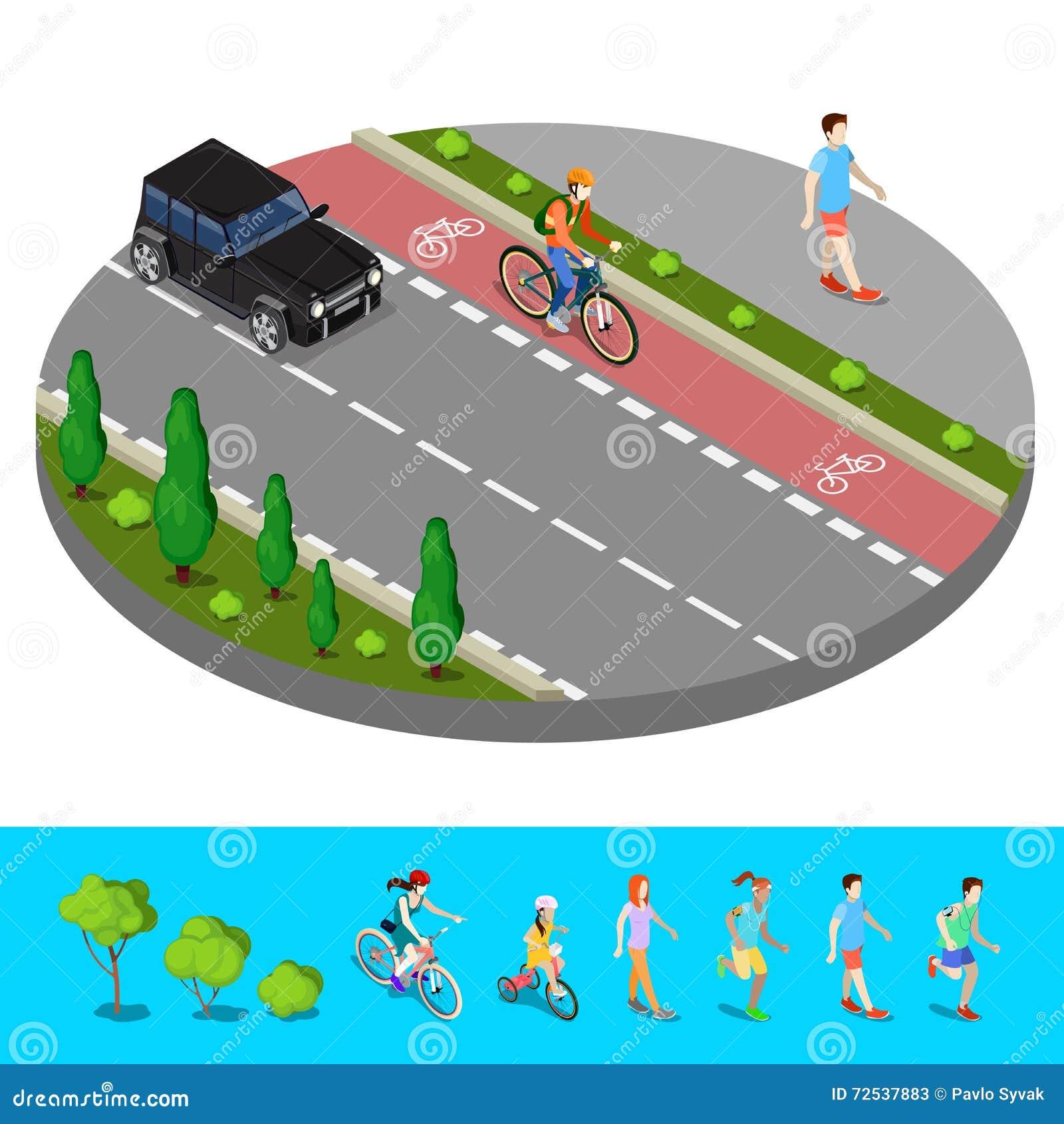 Città isometrica Percorso della bici con il sentiero per pedoni del ciclista con l uomo di camminata