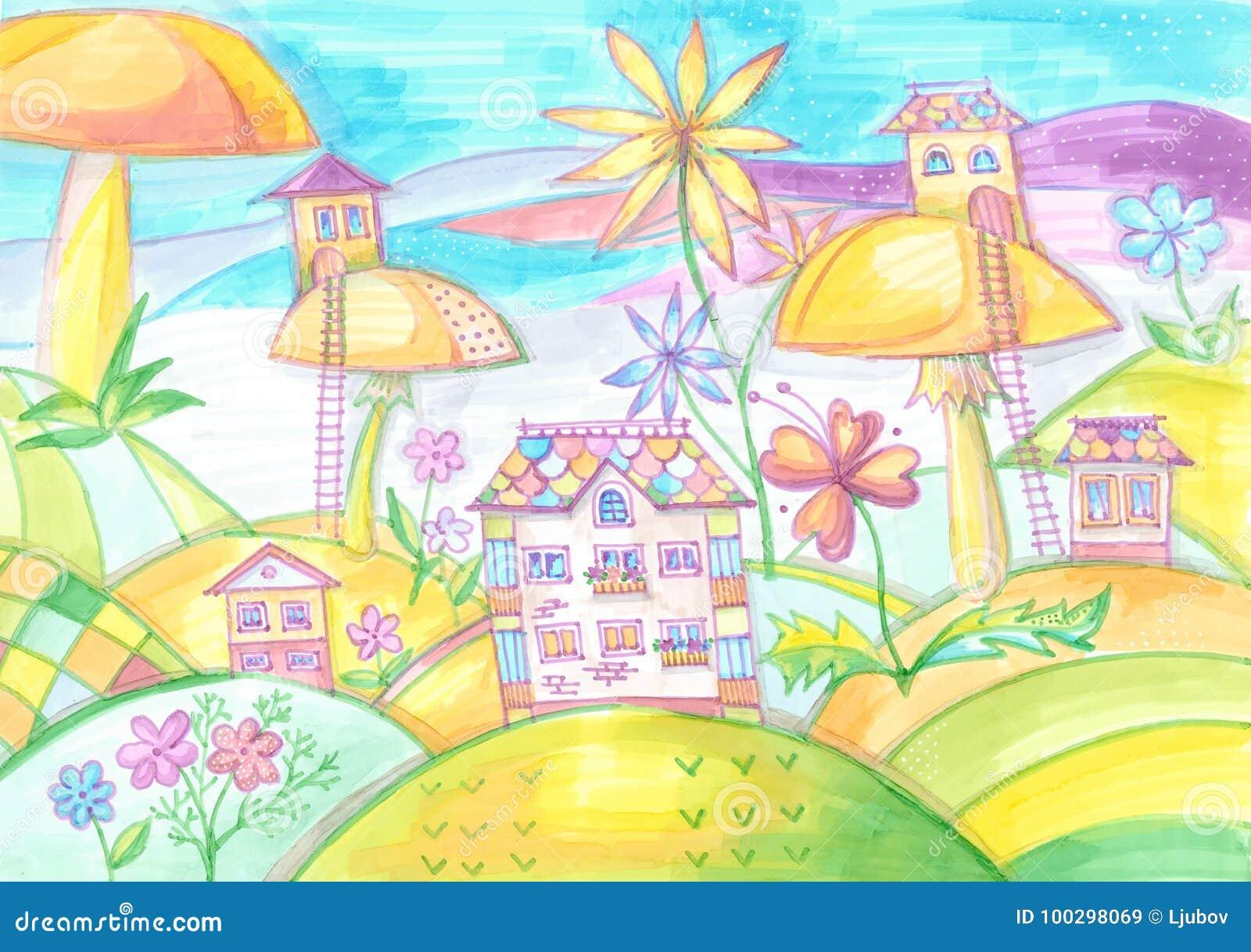 Citta Magica Con Le Case Sui Funghi Disegnando Per I Bambini