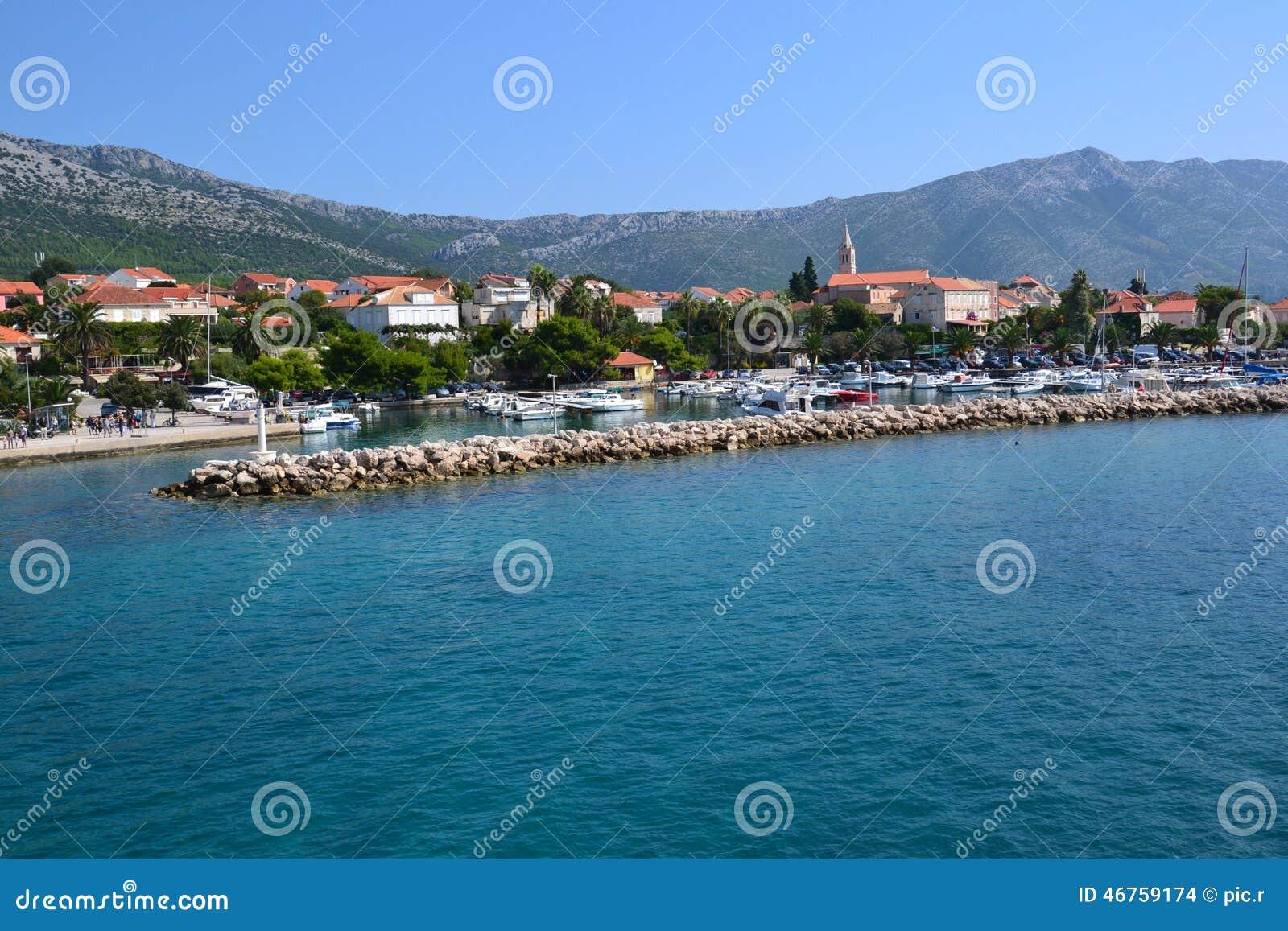 Città Orebic della spiaggia in Croazia, Europa