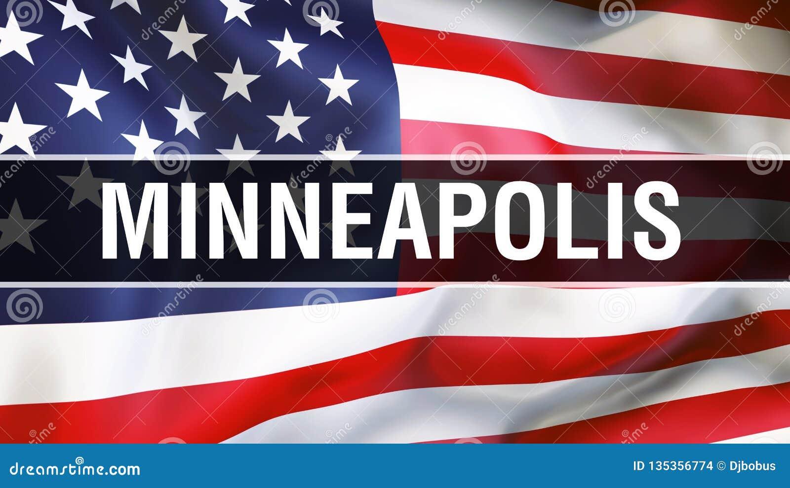 Città su un fondo della bandiera di U.S.A., di Minneapolis rappresentazione 3D Bandiera degli Stati Uniti d America che ondeggia