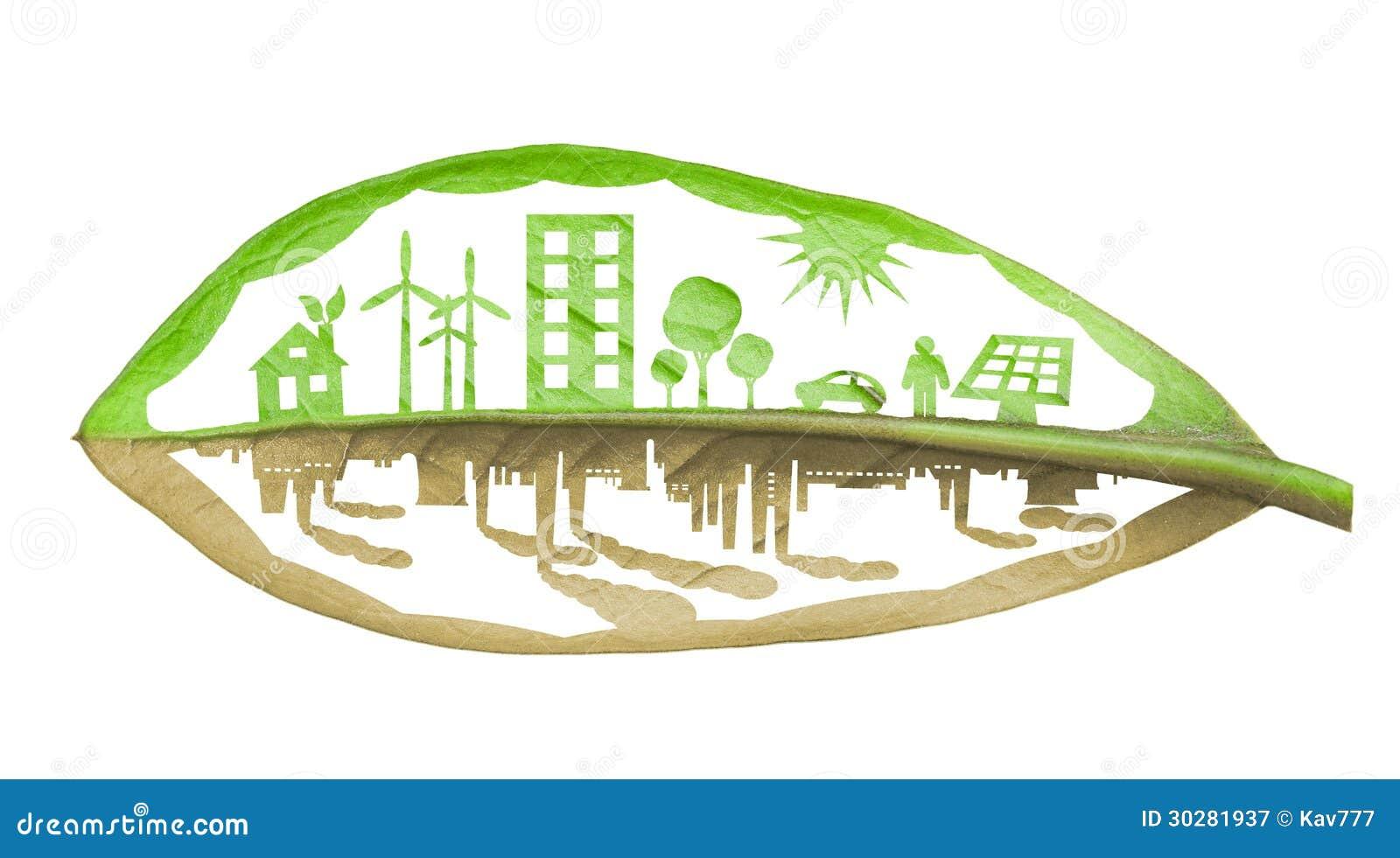 Città verde di ecologia contro il concetto di inquinamento, isolato sopra briciolo