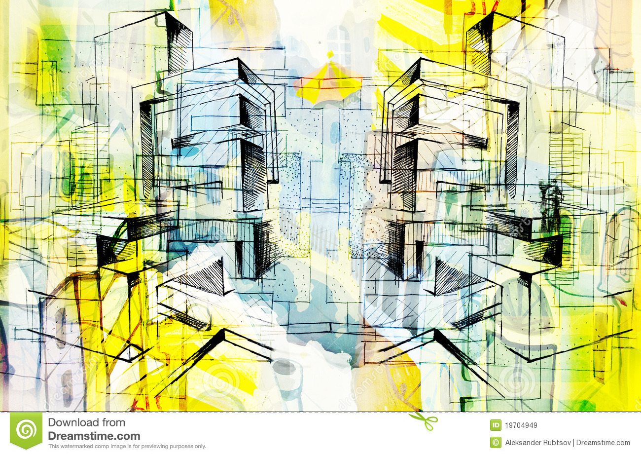 City and abstract and drawing and architecture stock Online architecture drawing