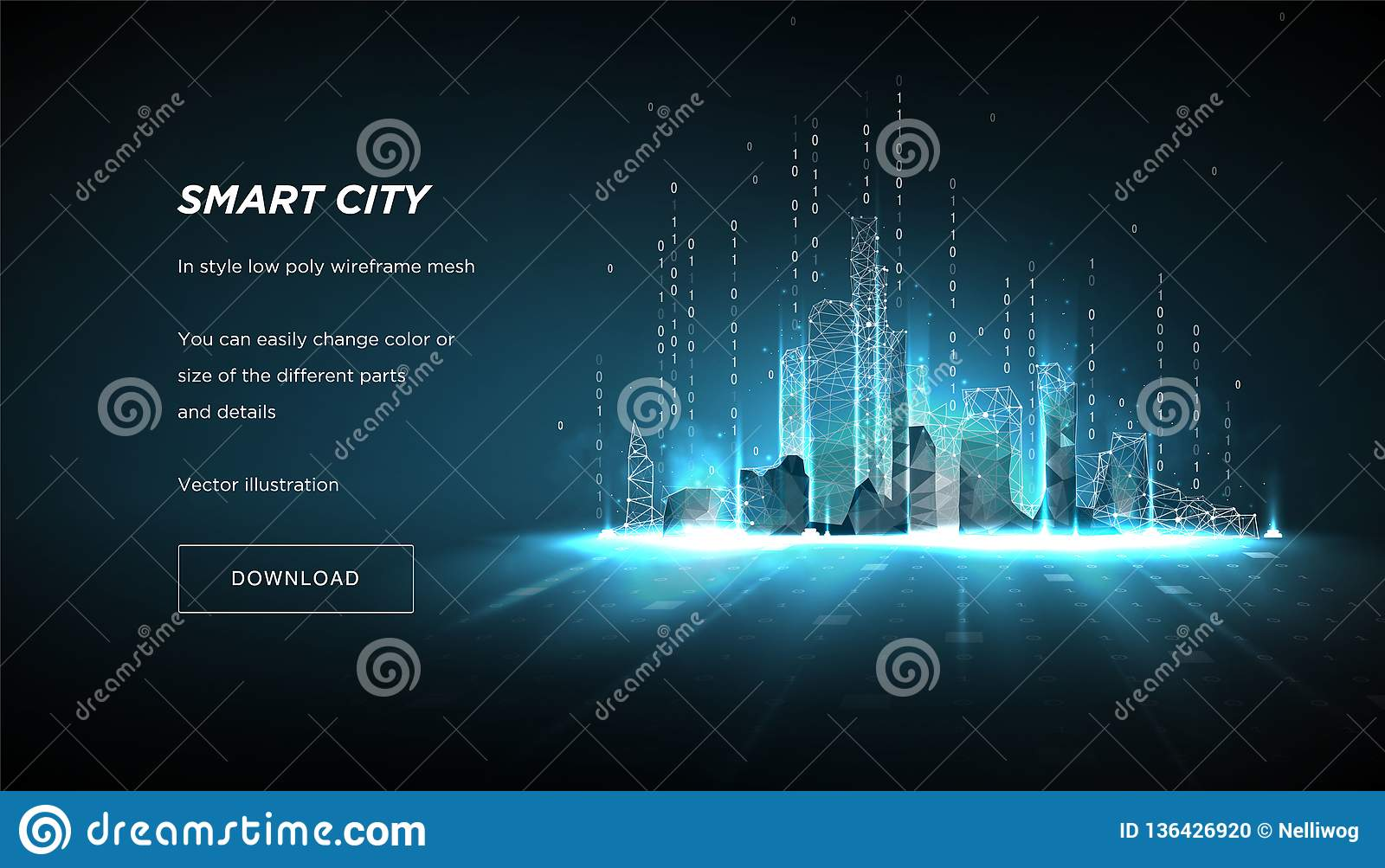 City of the Abstract low poly wireframe.Concept of smart cityand flow binary code.Plexus lines and points in the constellation.