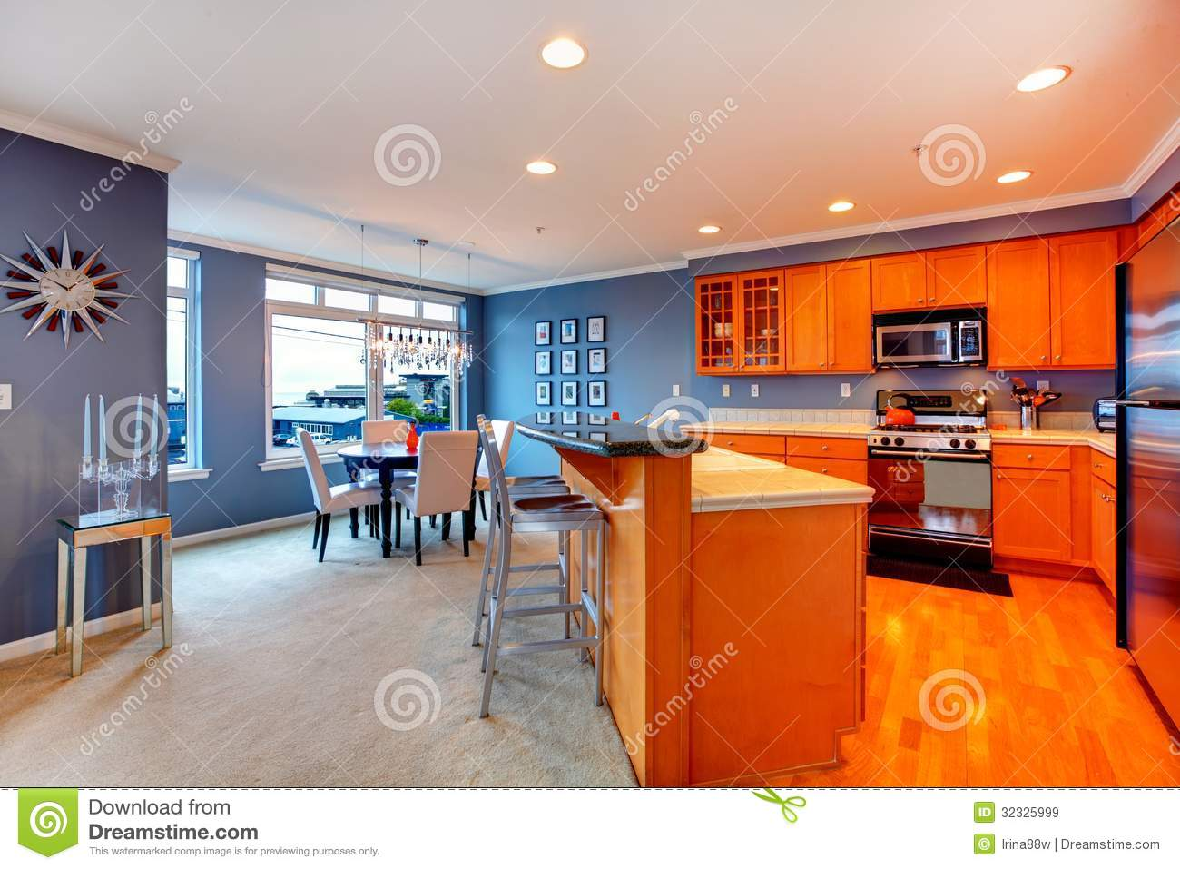 City Apartment Orange Wood Kitchen Interior Stock Image