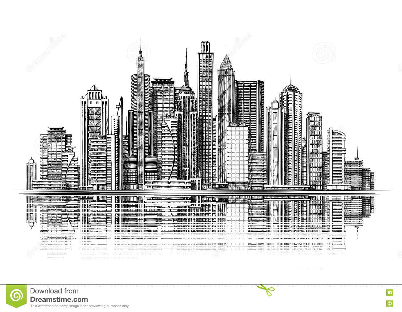 Architectural Drawings Of Skyscrapers Delighful City With From