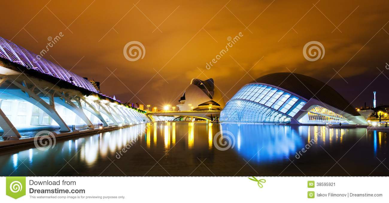 City of Arts and Sciences in night . Valecia, Spain