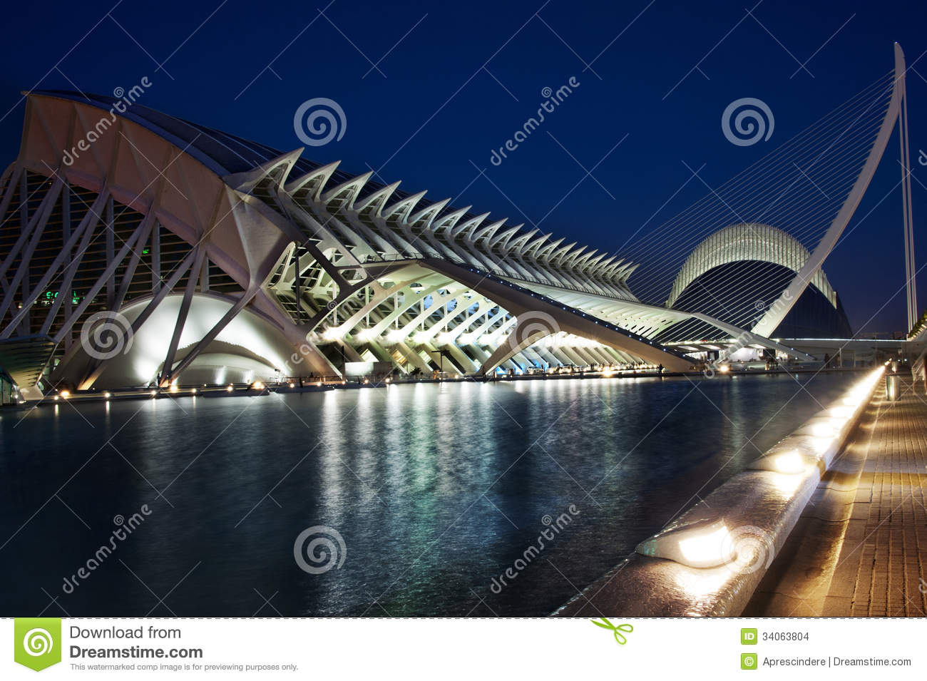 City Of Arts And Sciences By Night Editorial Stock Image