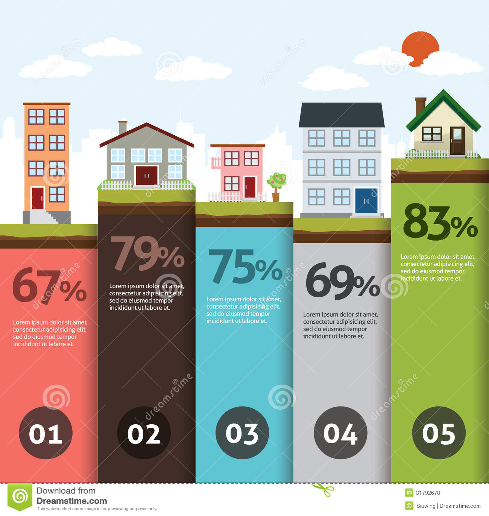 City bannner retro illustration infographics