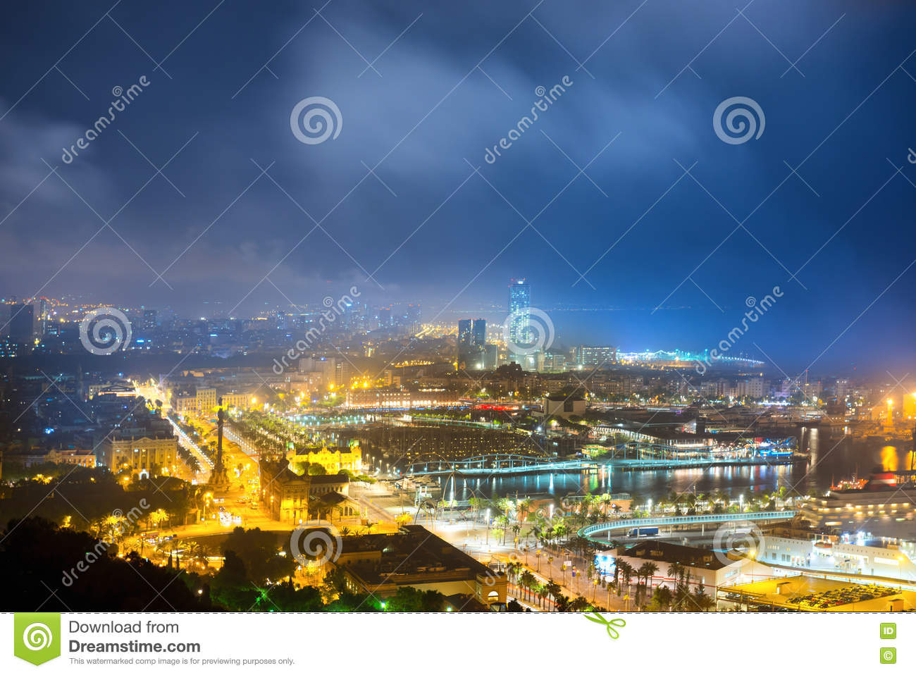 City of Barcelona at night stock image. Image of evening ...