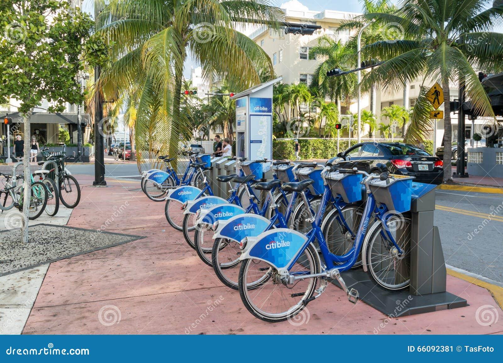 Citi Bike Miami >> City Bike Station In Miami Beach Florida Editorial Photo