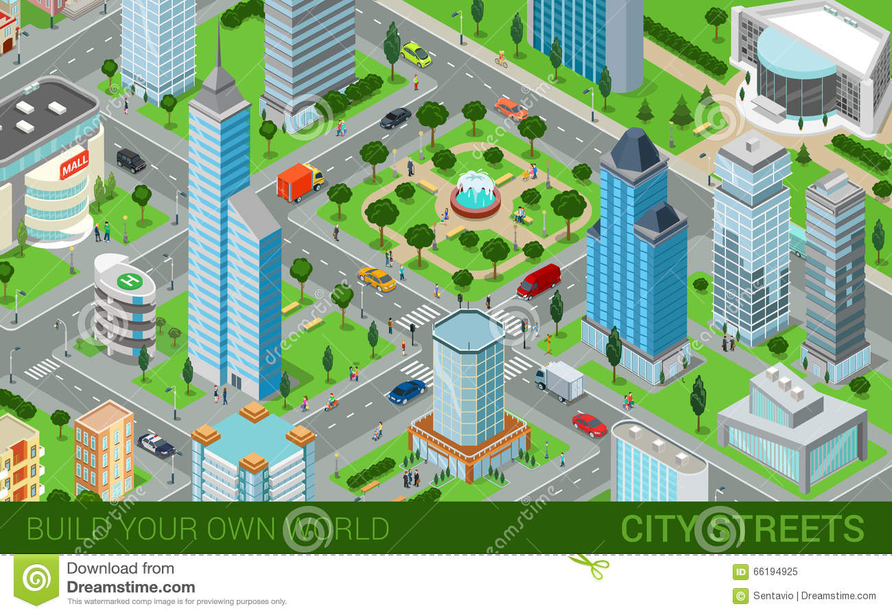 City Block Streets Transport Buildings Flat 3d Isometric