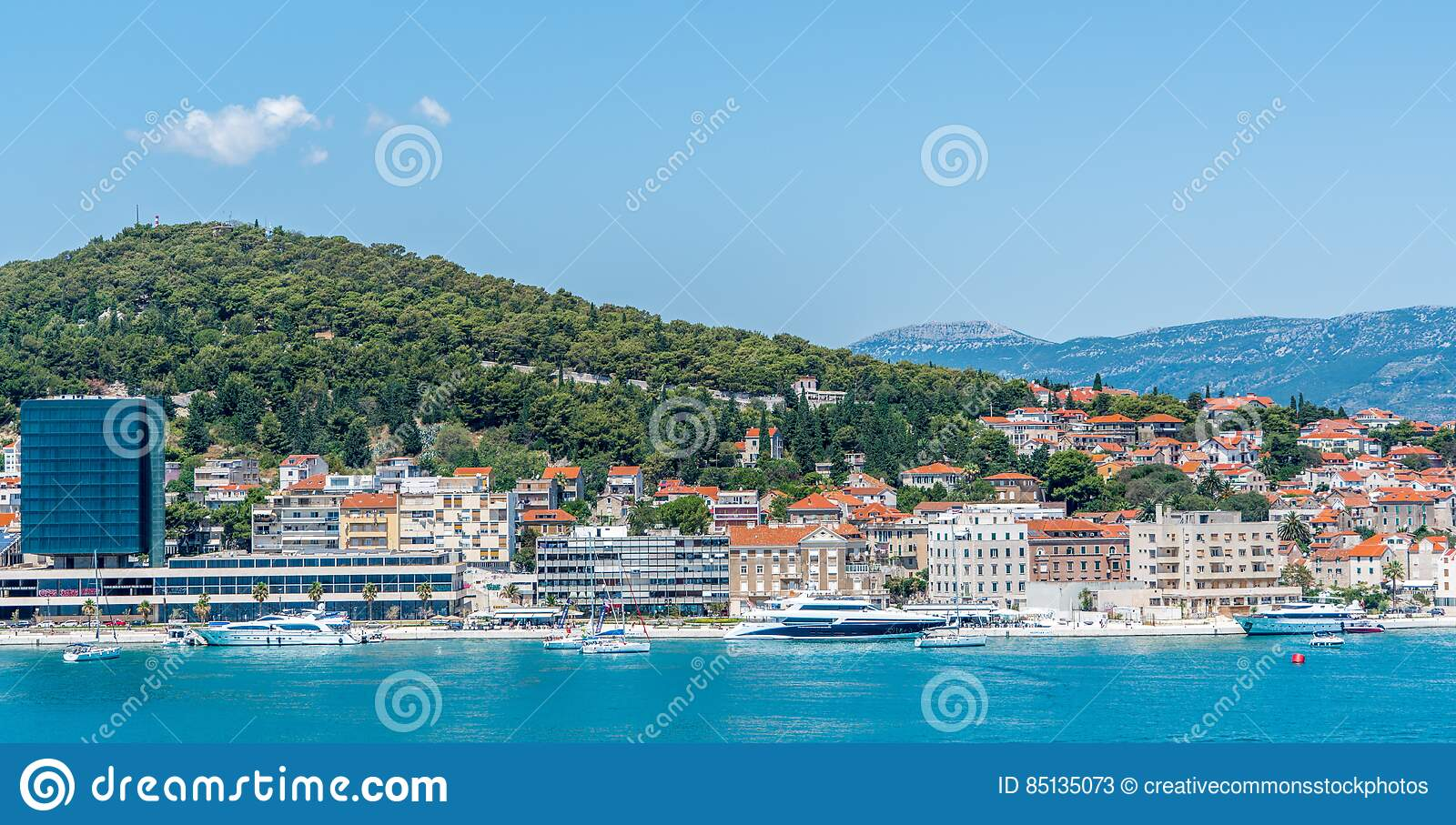 Download City Buildings Near Body Of Water And Mountain Stock Image - Image of architecture, free: 85135073