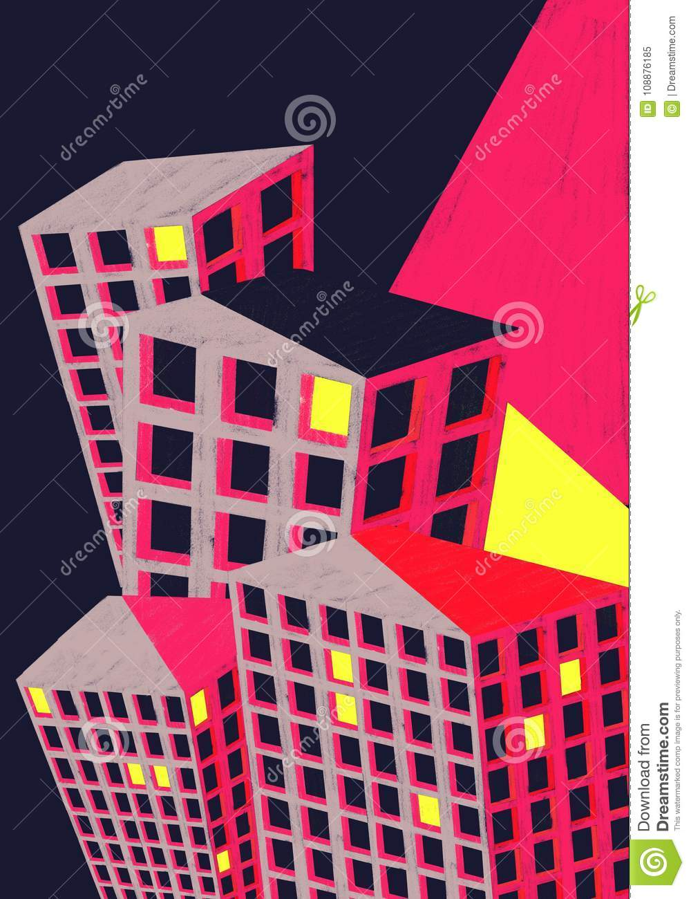City buildings poster illustration colourful.