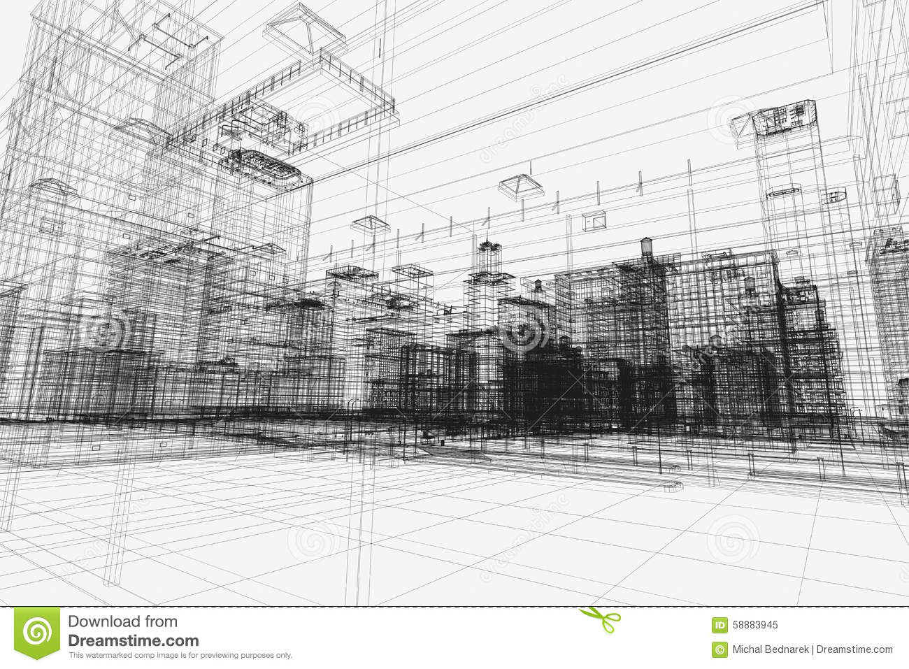 City buildings project 3d wireframe print urban plan architecture