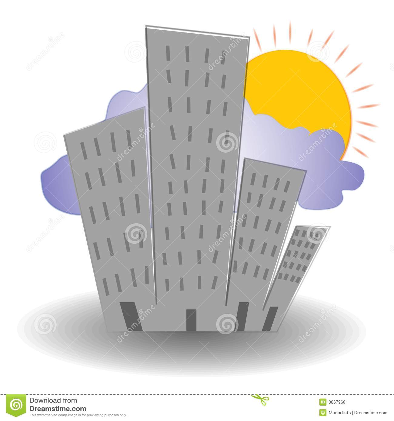 clip art illustration of a city at sunrise with tall buildings and ...