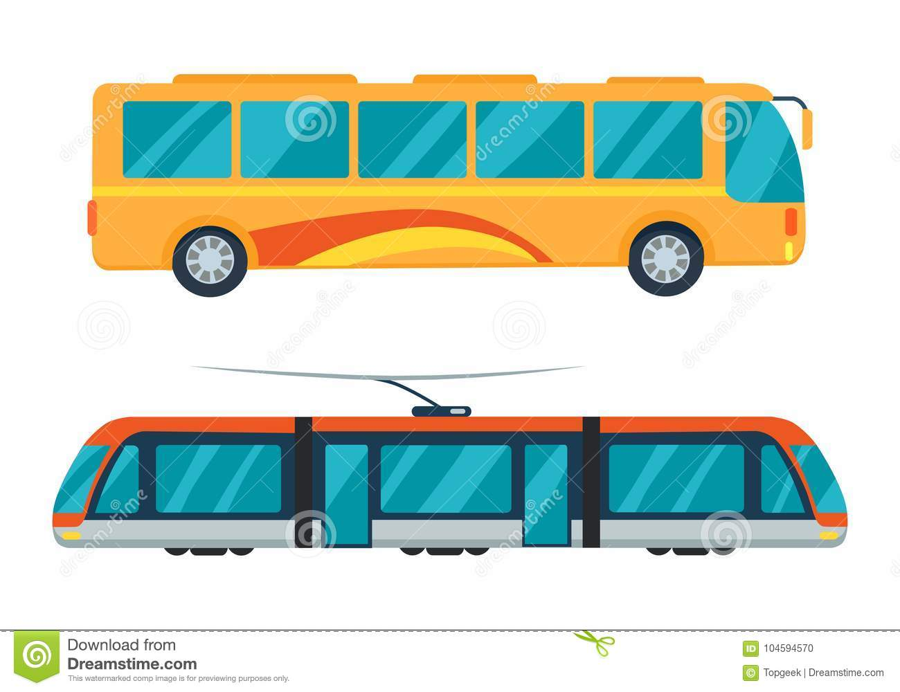 b6cbbaaf9bb985 City Bus And Electric Tram Vector Illustration Stock Vector ...