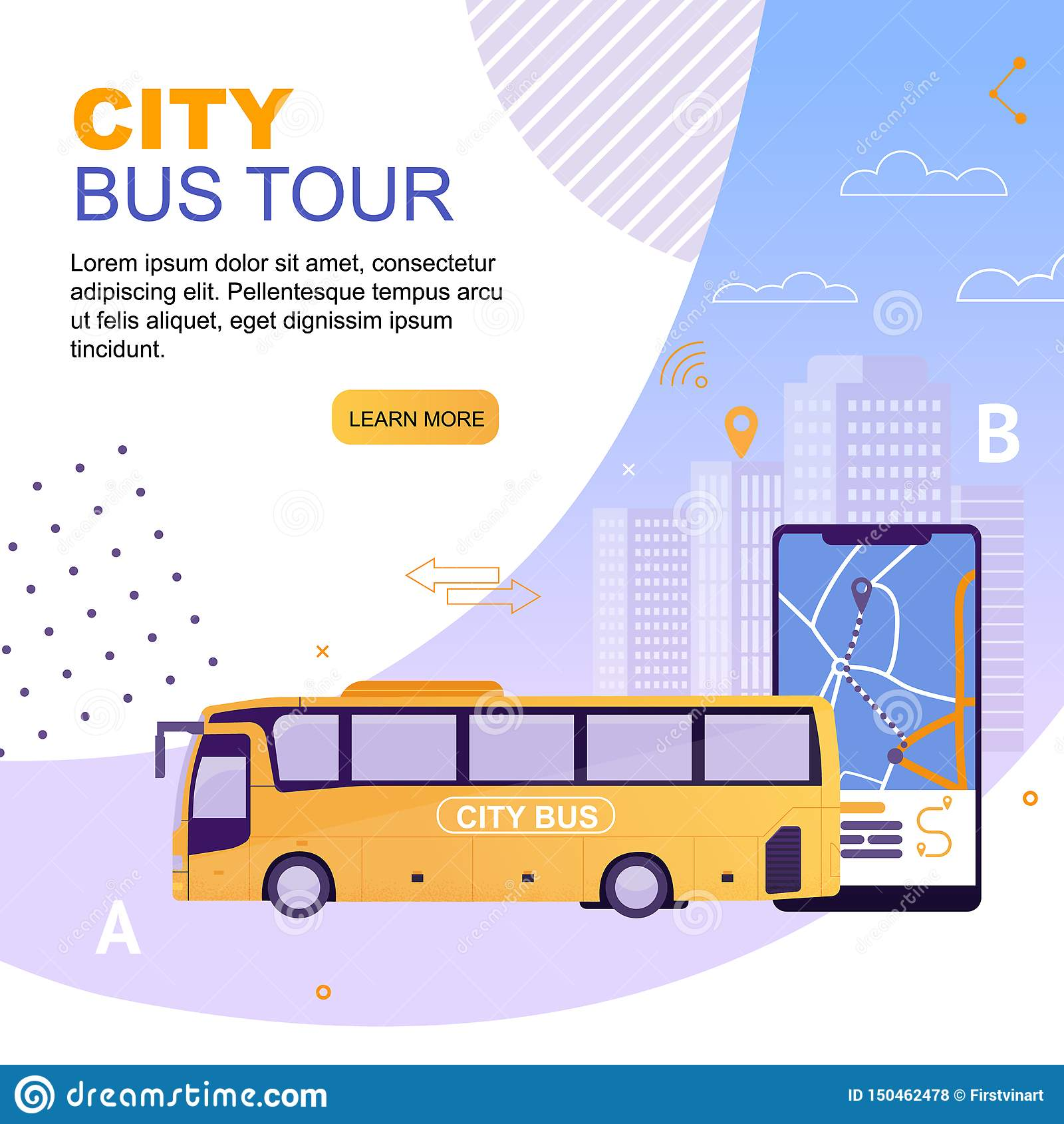 City Bus Vehicle With Route On Map Application Stock Vector Illustration Of City Road 150462478