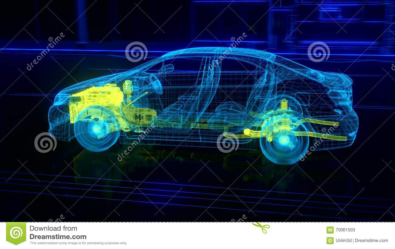 City Car Wireframe View Engine And Transmission Details Stock