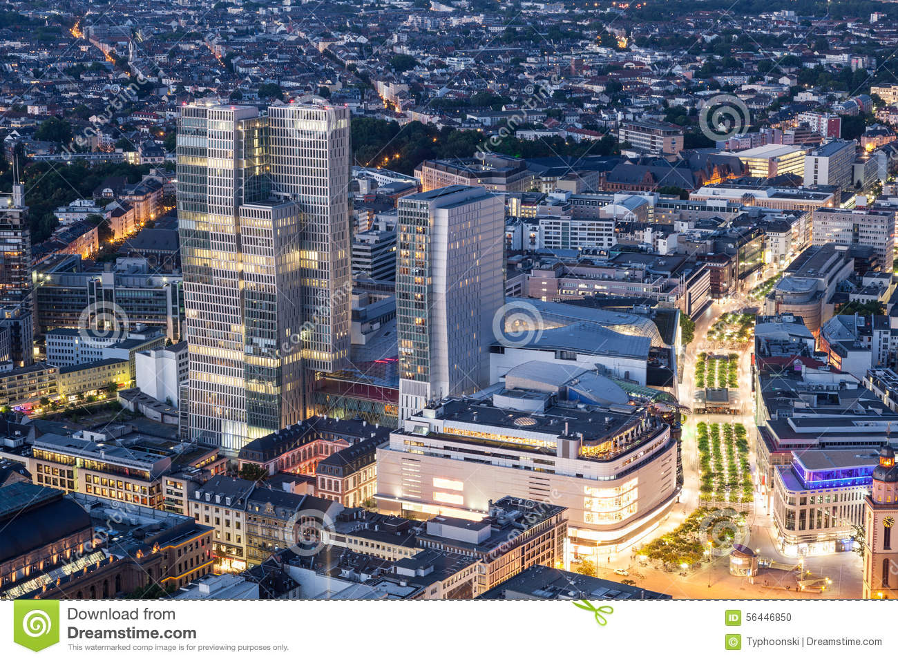 city center of frankfurt main at night stock photo image of aerial quartier 56446850. Black Bedroom Furniture Sets. Home Design Ideas
