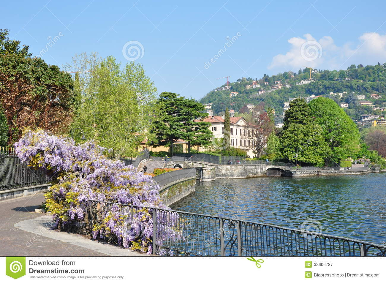 The city of Como On the lake the path with villas on lake Como Italy.