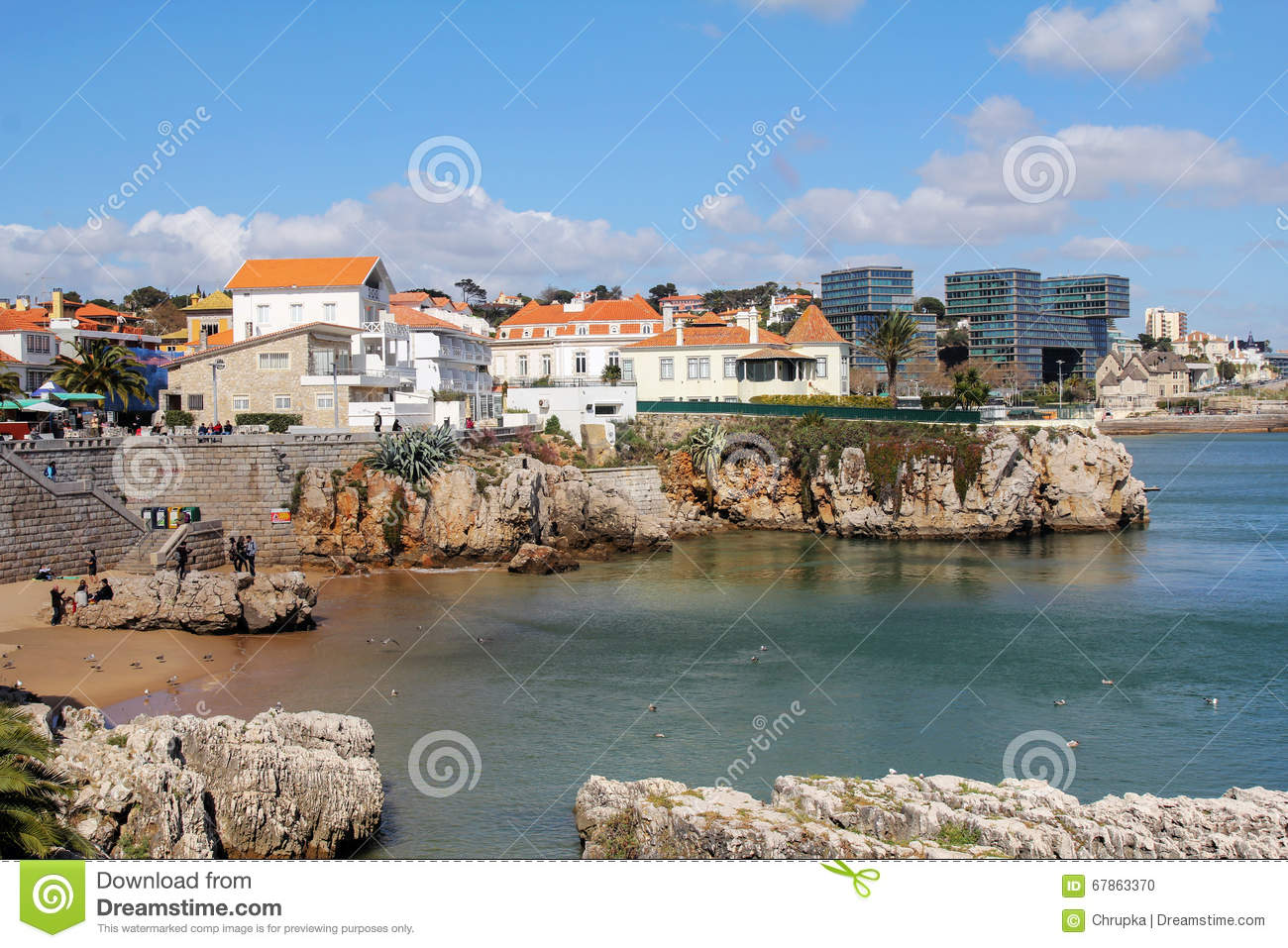 city and cliff coast of cascais portugal editorial image
