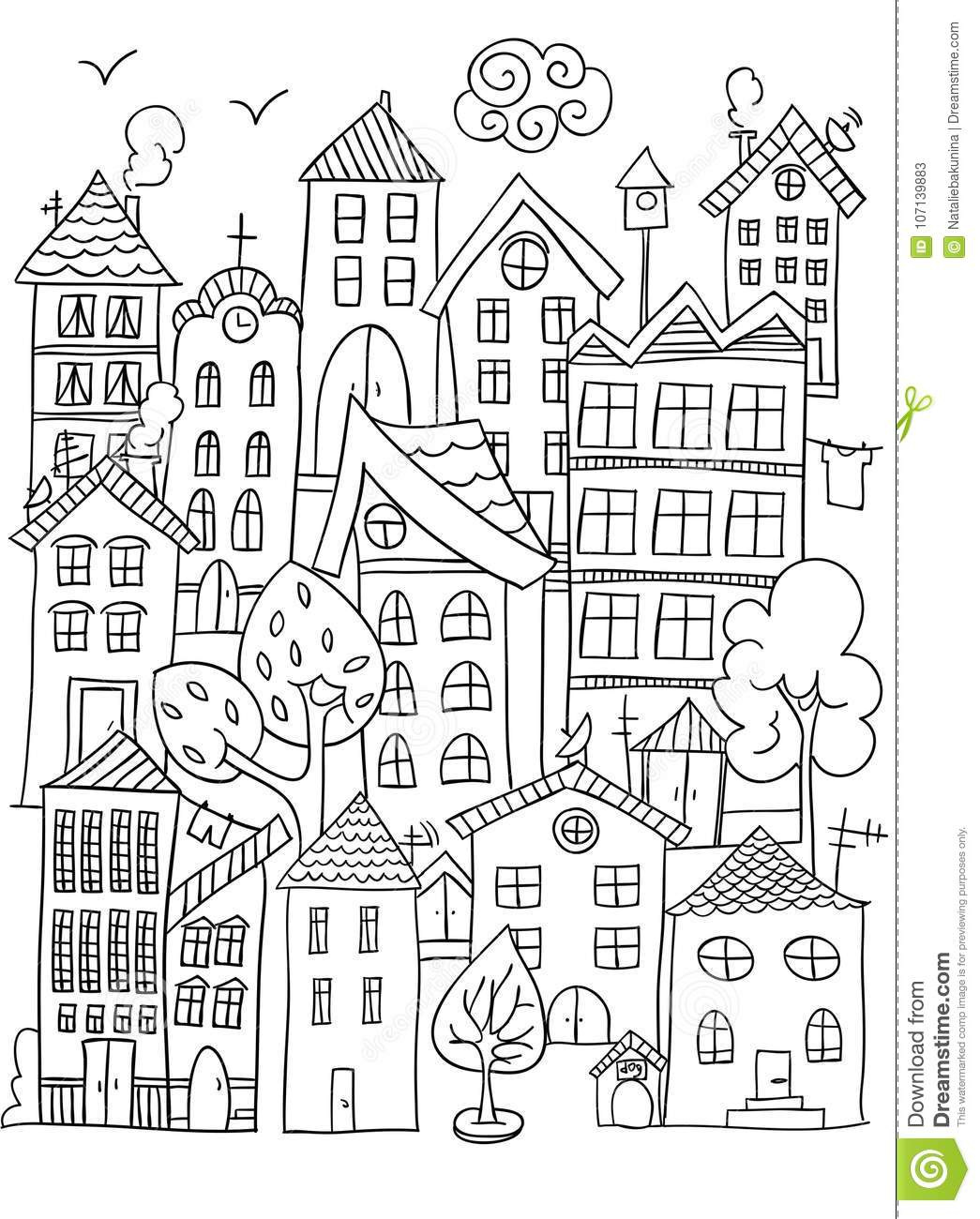 Exelent City Coloring Page Motif