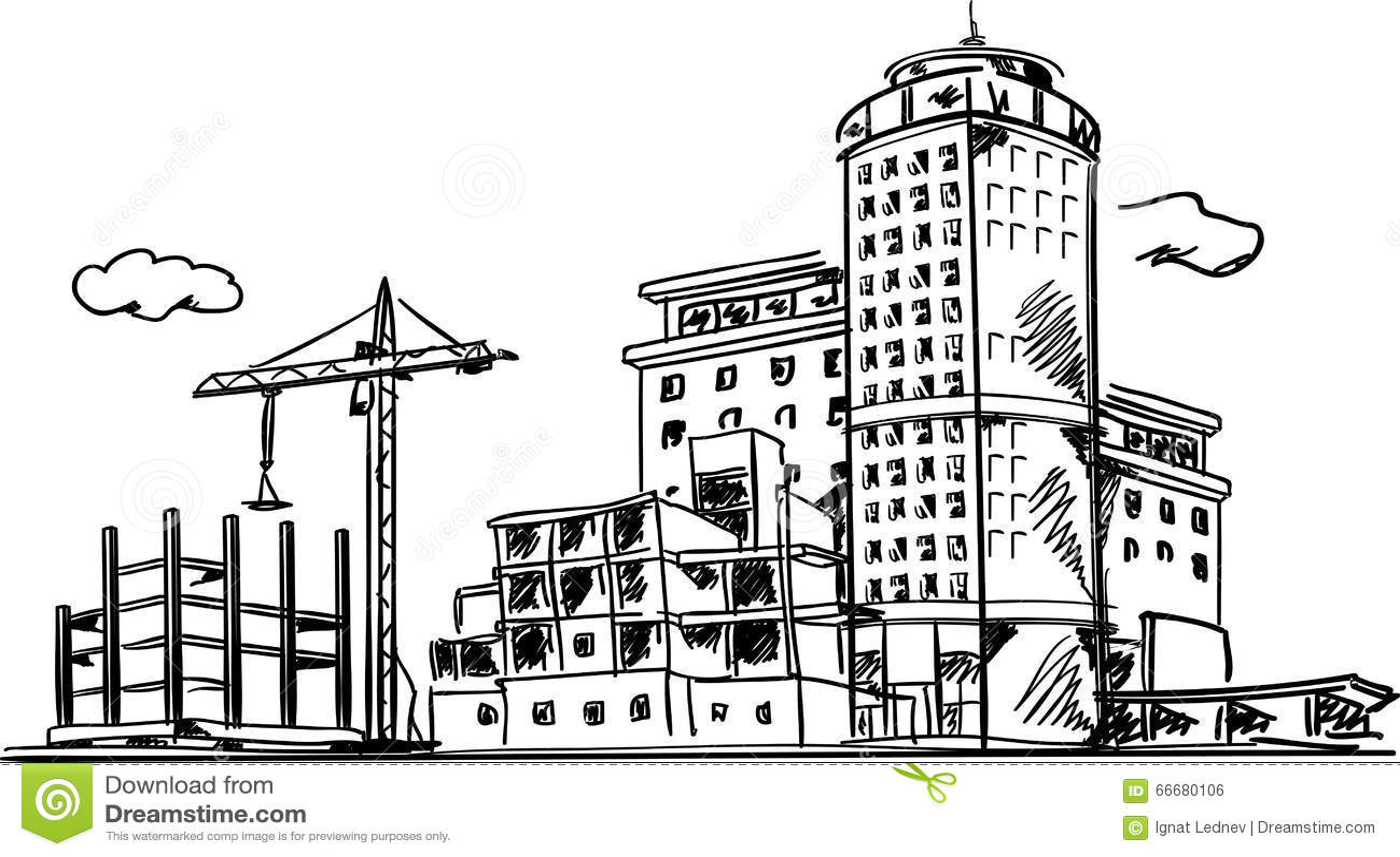 Building Construction Drawings : City construction sketch vector illustration