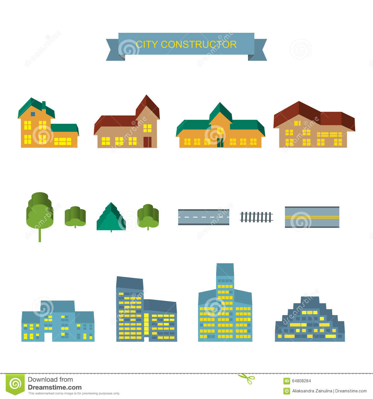 City constructor 3d icons set stock vector image 64808284 for Landscape design icons