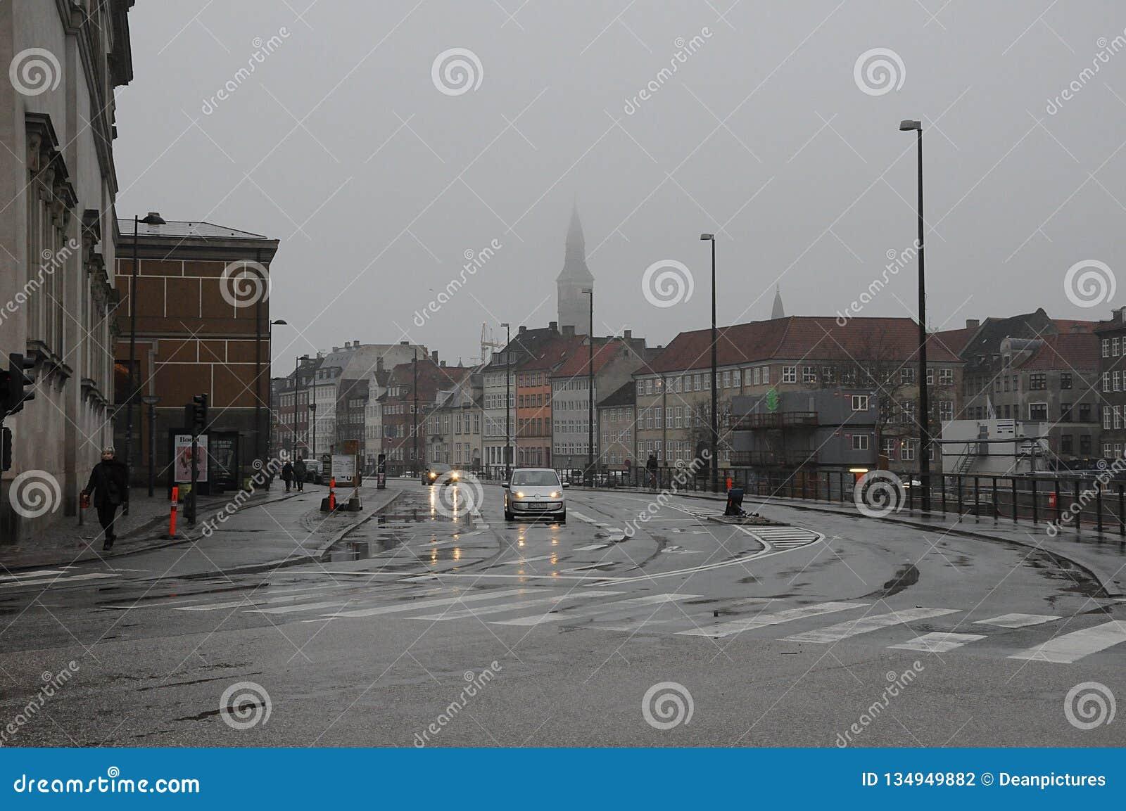 City Of Copenhagen And Rainy Foggy Weather Editorial Photography